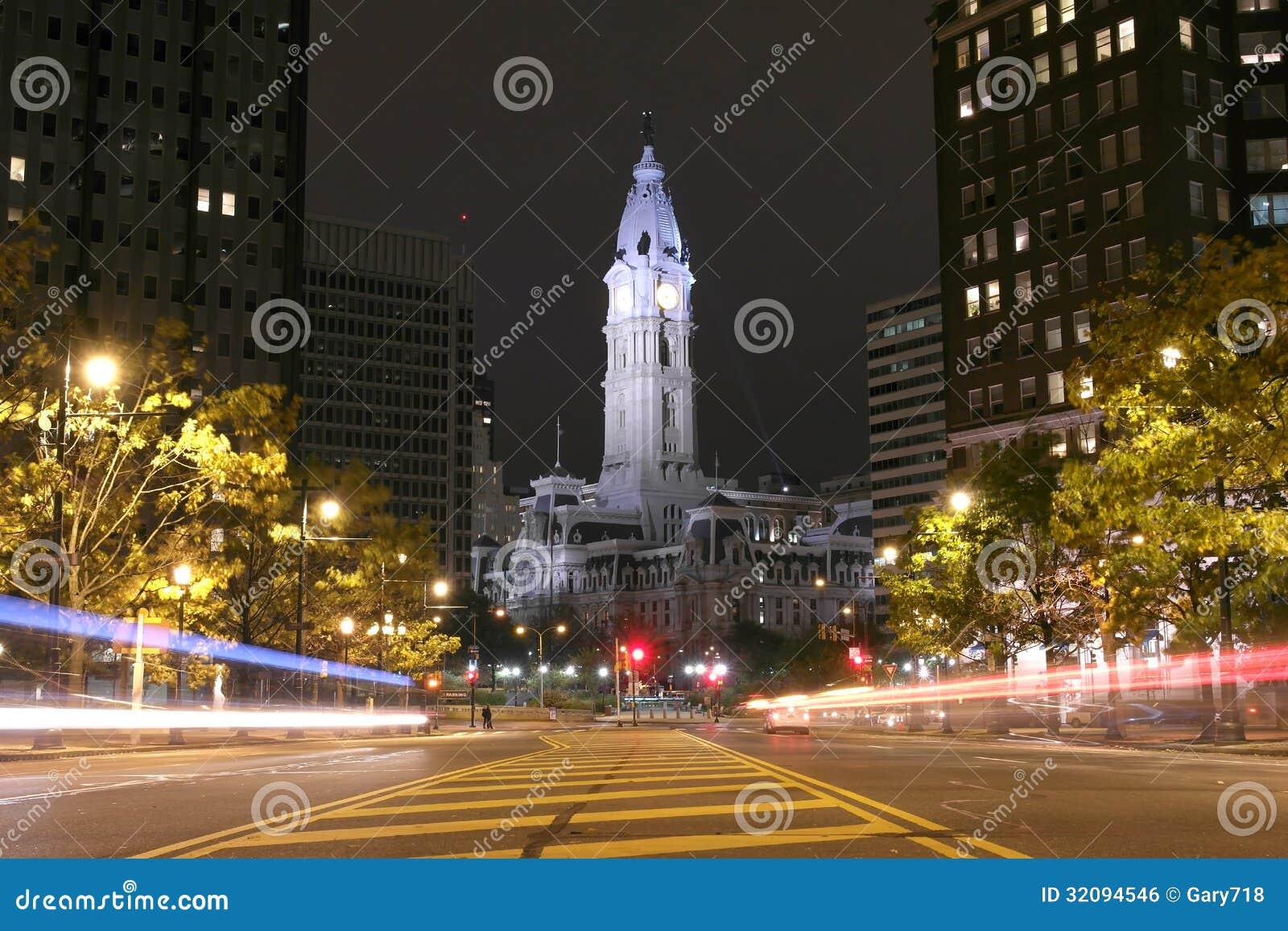 The Philadelphia City Hall building at night