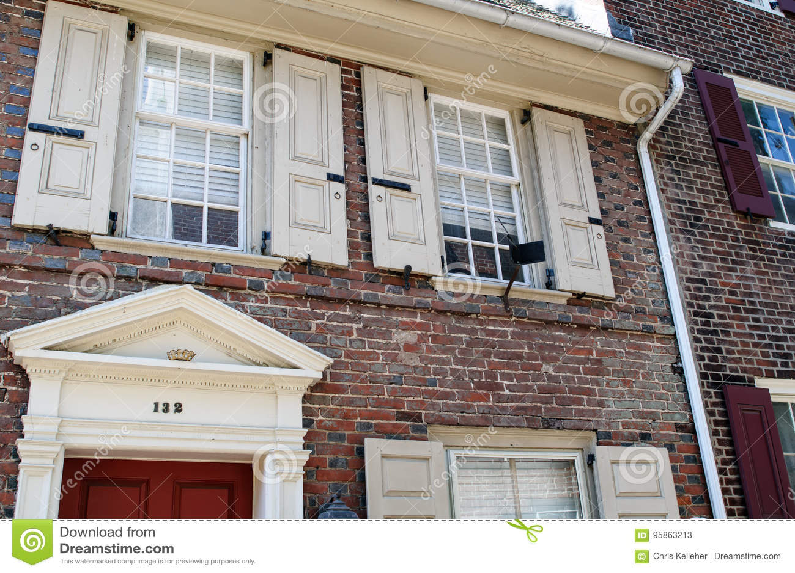 PHILADELPHIA, PA - 14 MEI: De historische Oude Stad in Philadelphia, Pennsylvania Elfreth` s Steeg, als wordt bedoeld die