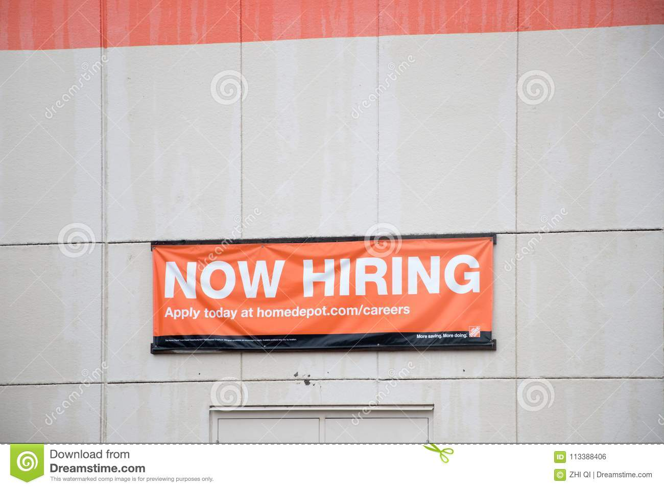 The Home Depot Now Hiring Banners Editorial Photo Image Of Retail