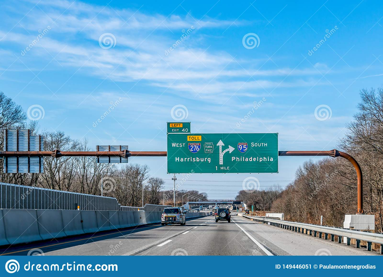 Philadelphia, Pennsylvania, USA - December, 2018 - Signs with directions to West Harrisburg and South Philadelphia