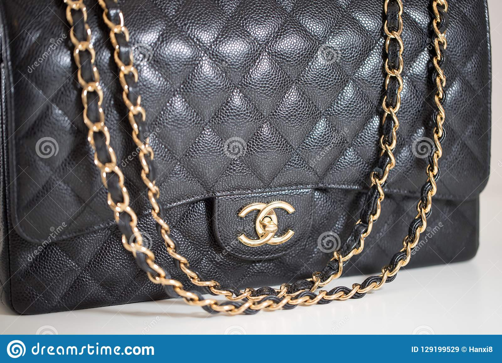63cf906785 Philadelphia, Pennsylvania, USA, October 18, 2018: Photo of black Chanel  handbag brand Editorial on white background.