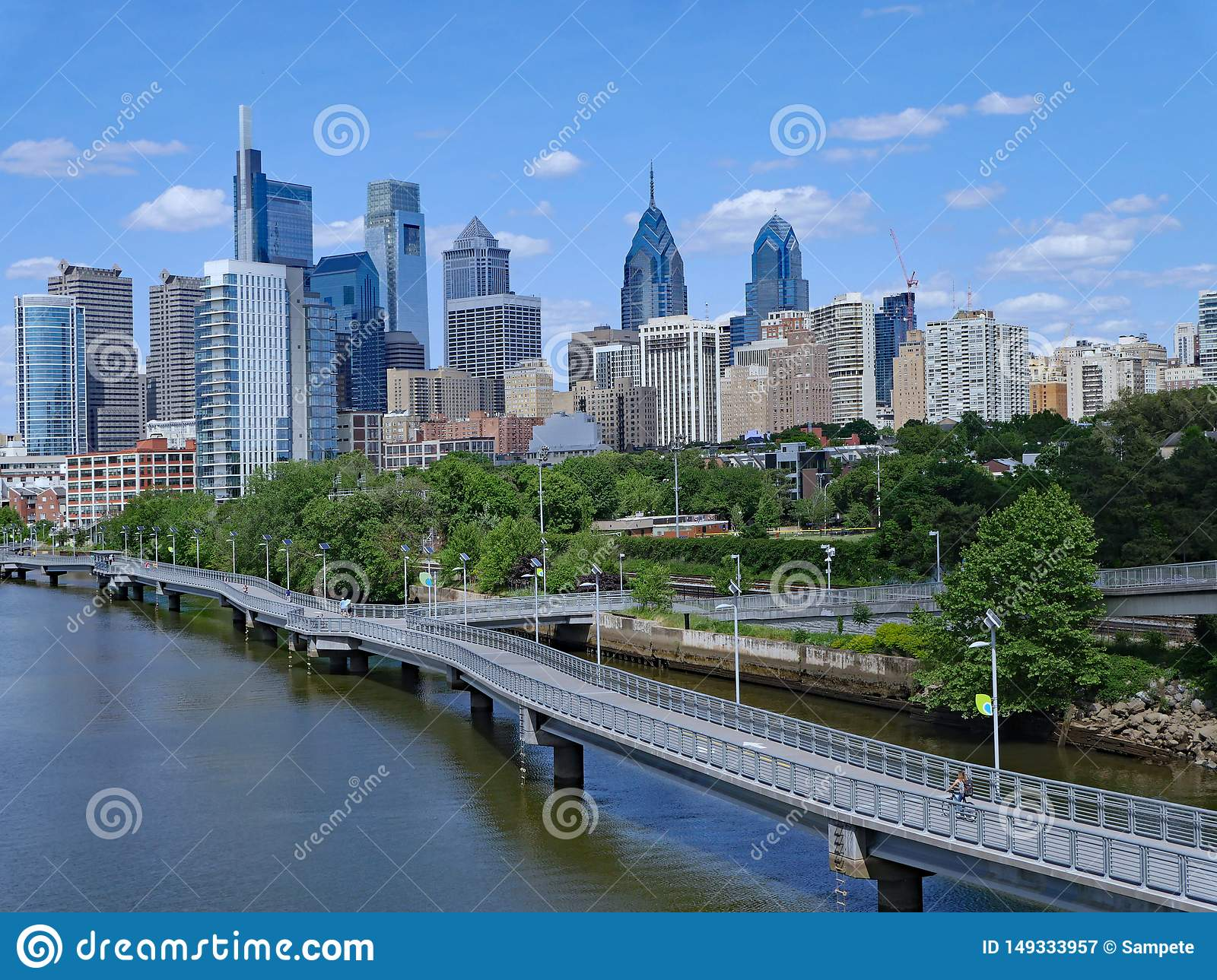 Philadelphia skyline in 2019 with recreational boardwalk along the Schuylkill River