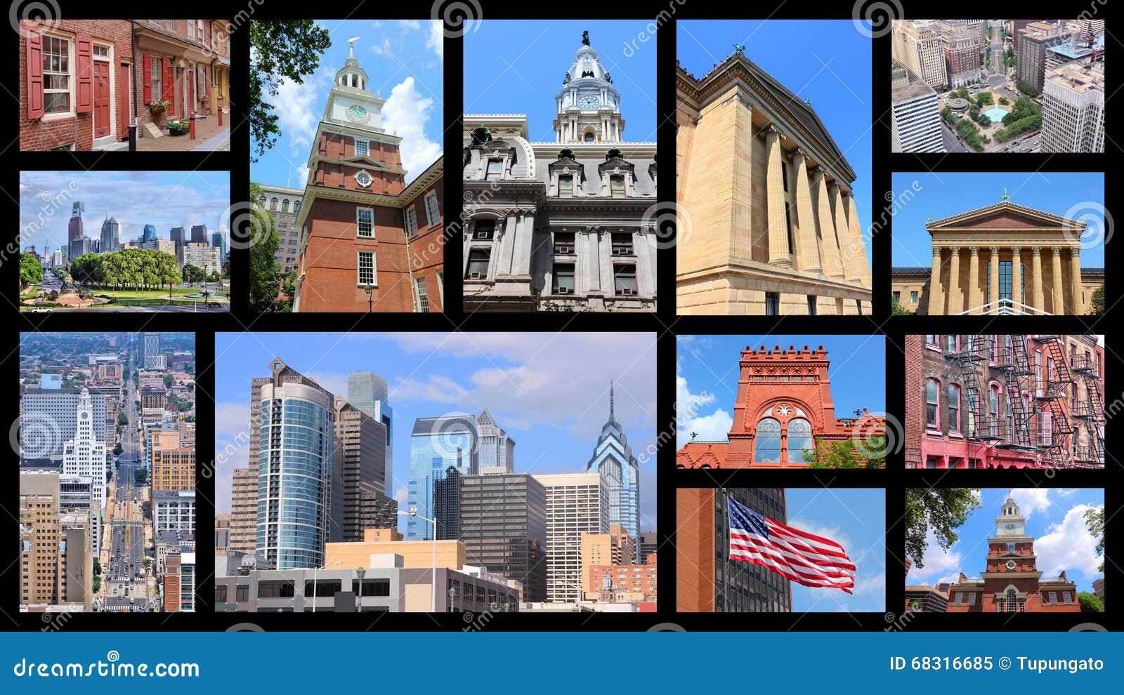 Philadelphia USA stock image. Image of frames, montage - 68316685