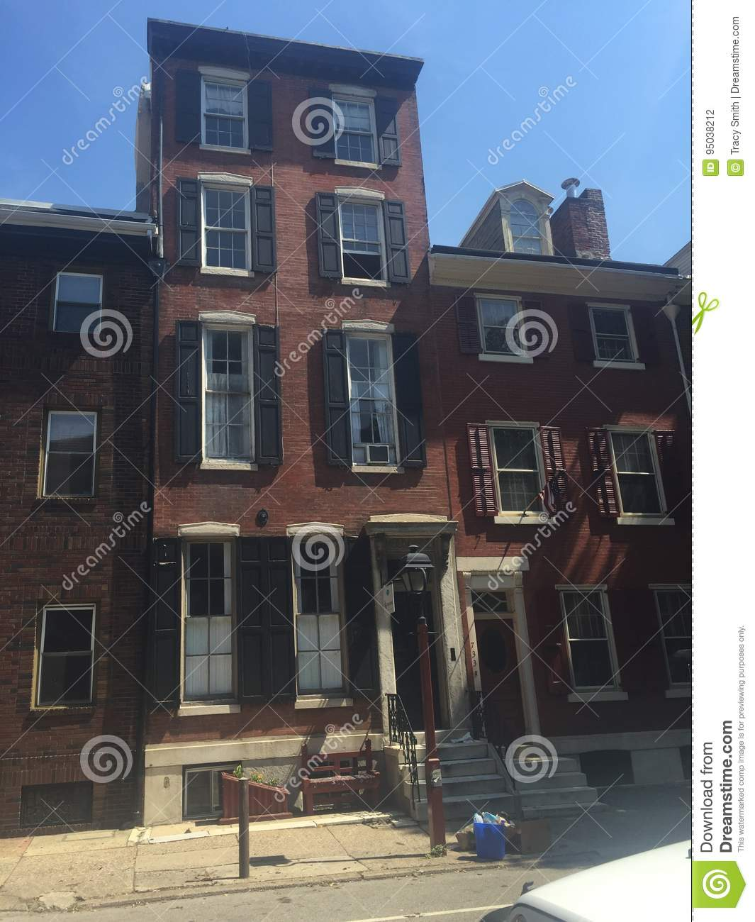 Philadelphia Washington Square West Brownstone Houses On