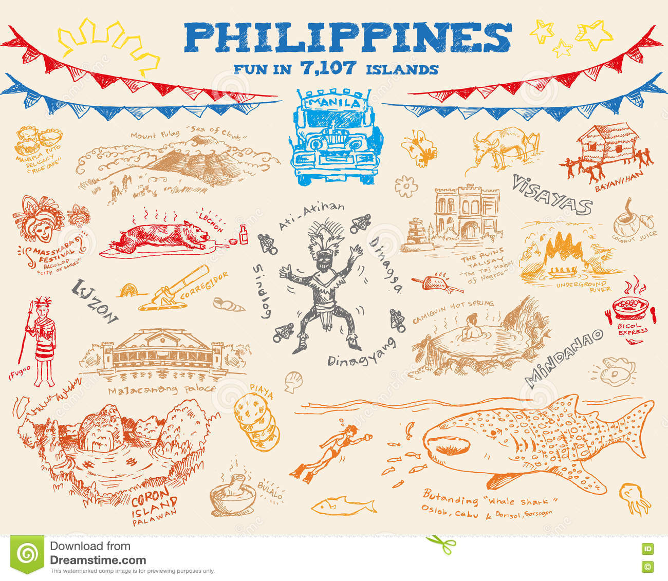 Philippine doodle sketch concept collection 2. Editable Clip Art Vector eps10