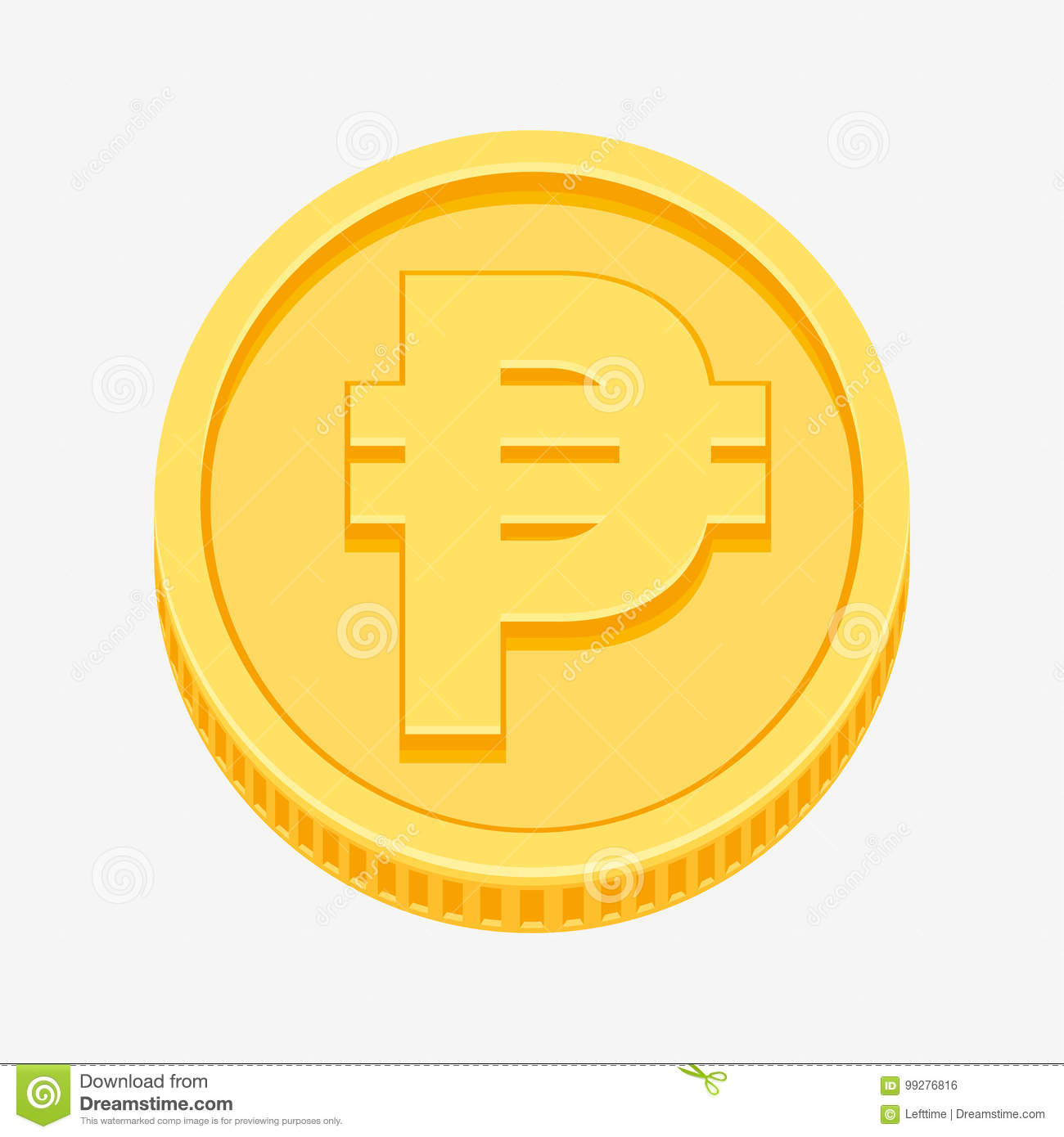 Philippine Peso Currency Symbol On Gold Coin Stock Vector