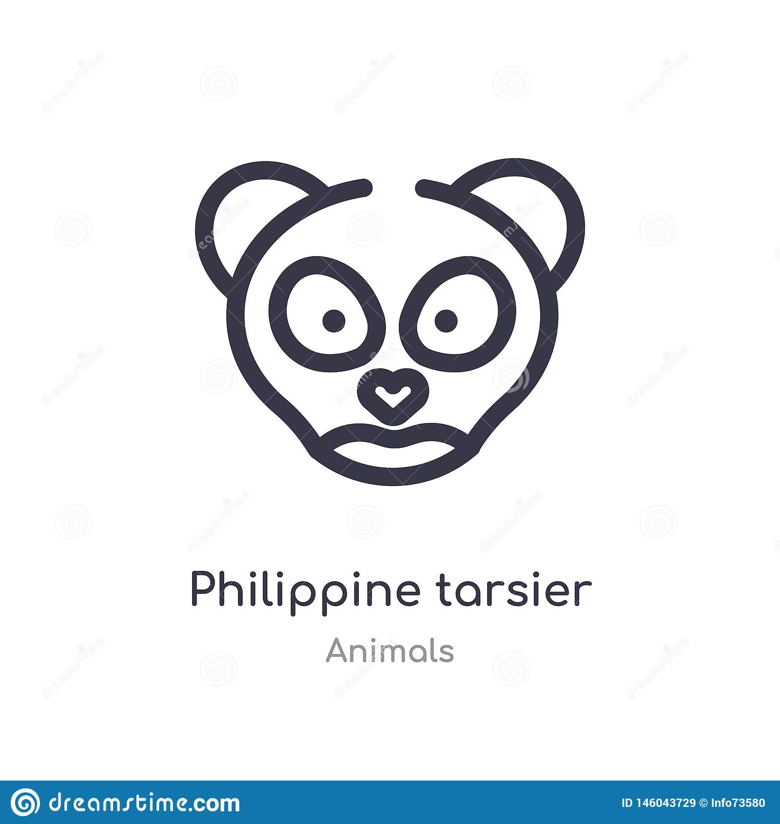 philippine tarsier outline icon. isolated line vector illustration from animals collection. editable thin stroke philippine