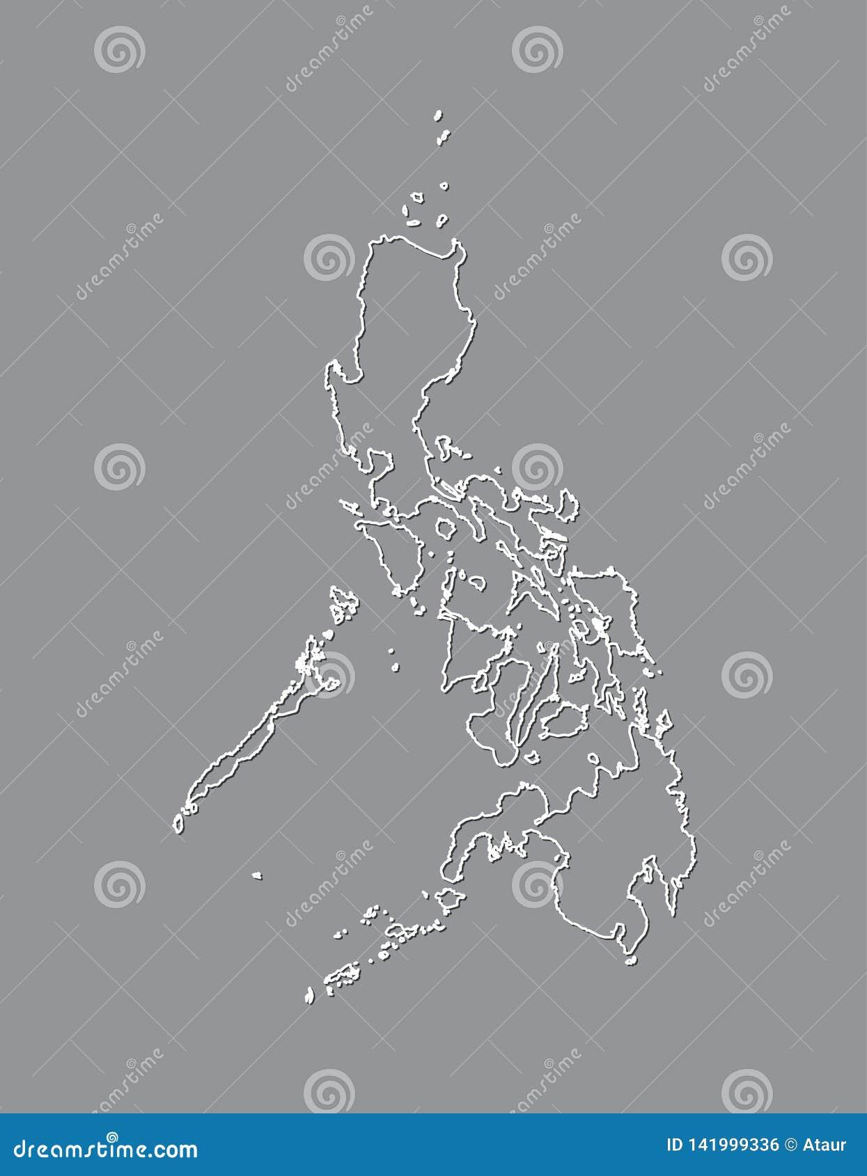 Philippinen-Vektorkarte mit einzelner Grenze Grenze unter Verwendung der weißen Farbe auf dunkler Hintergrundillustration