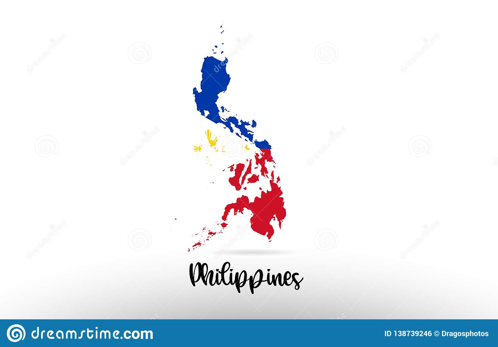 Philippine Map Logo Philippines Country Flag Inside Map Contour Design Icon Logo Stock
