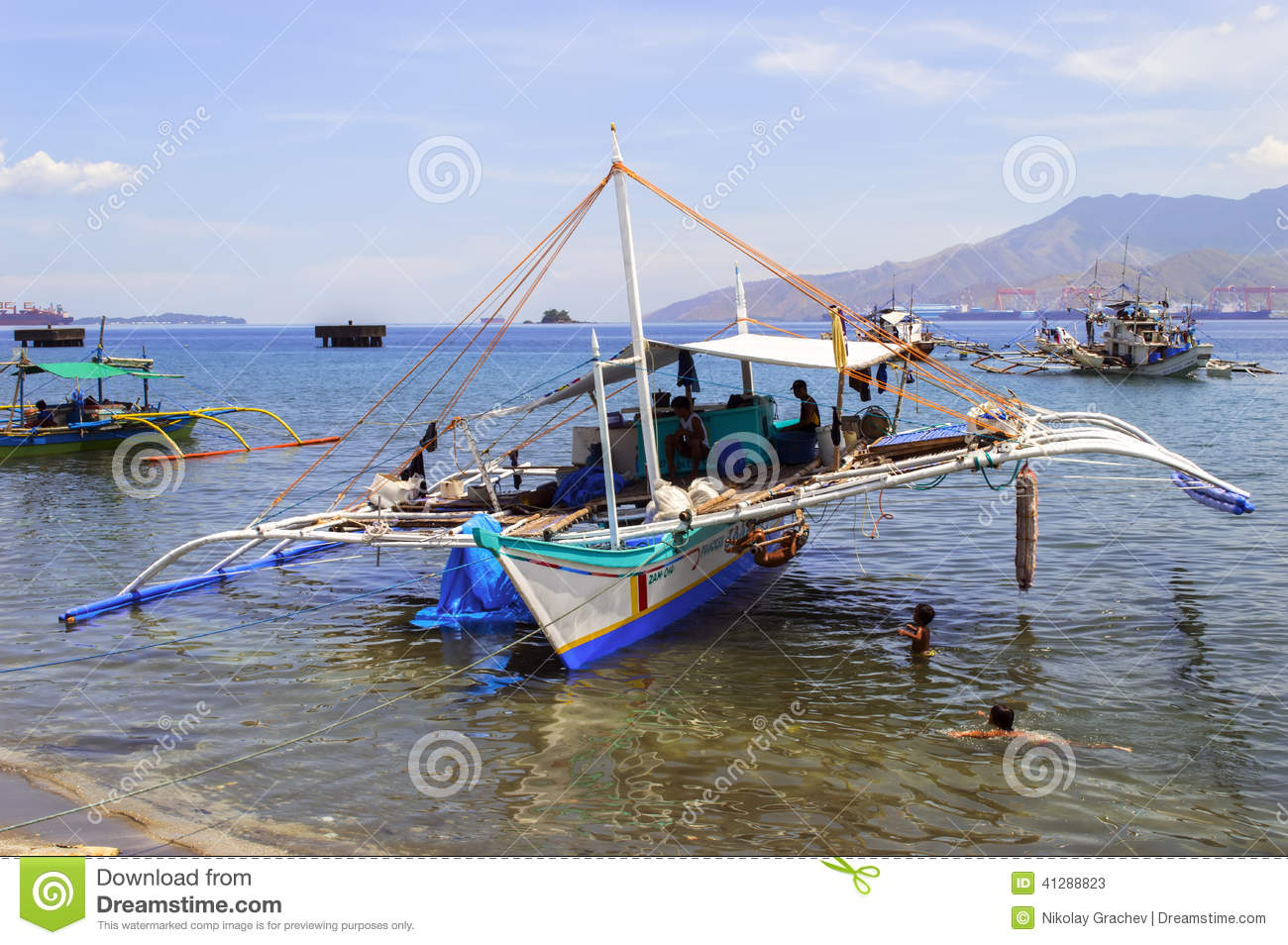 Philippines fishing boat and children editorial stock for City island fishing boats