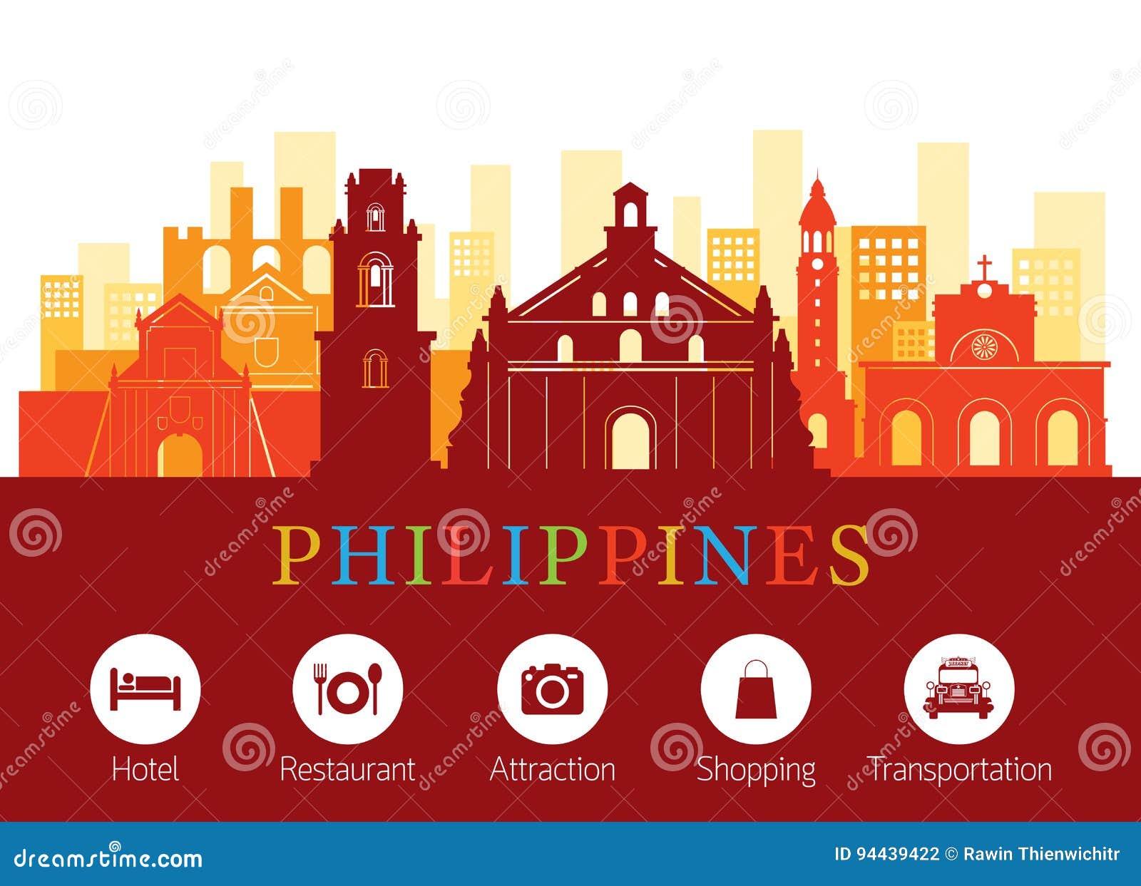 Philippines Landmarks Skyline with Accommodation Icons