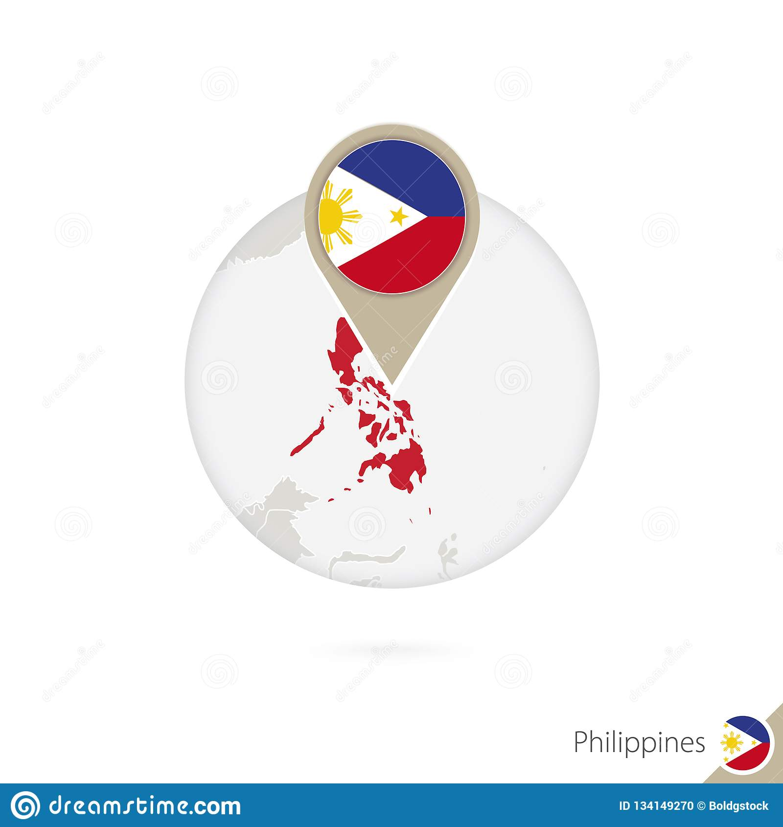 79cfb93dd2db0 Philippines Map And Flag In Circle. Map Of Philippines