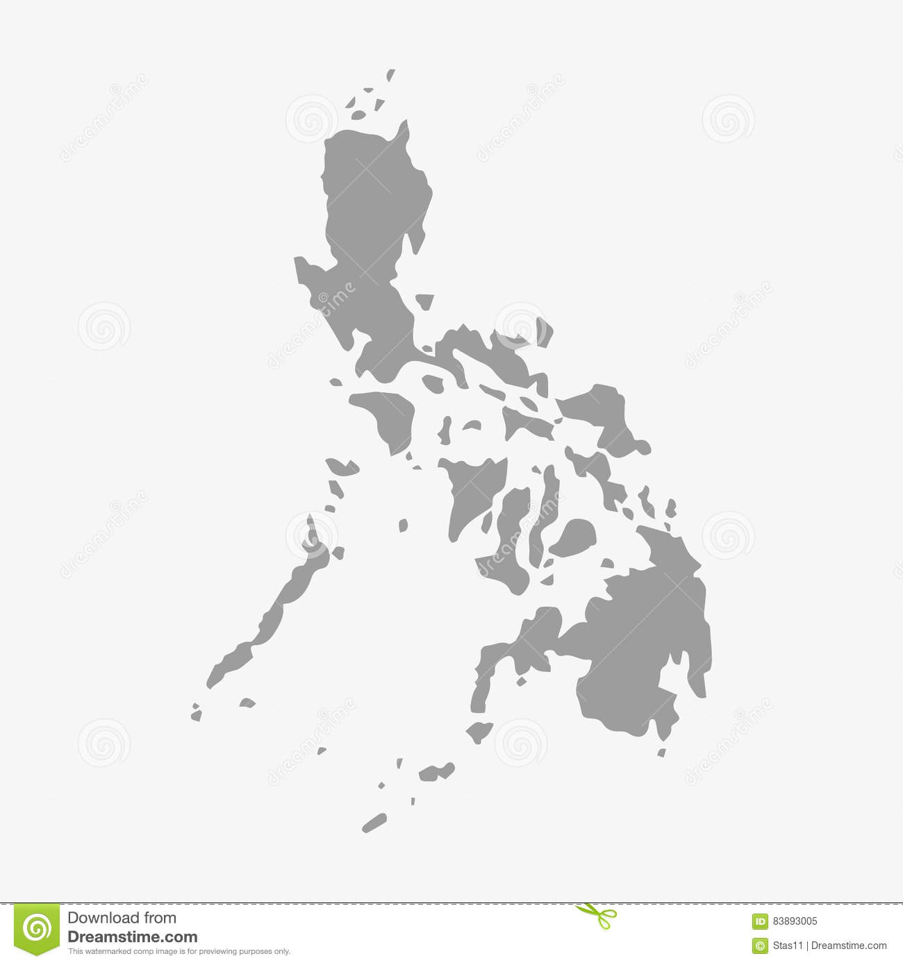Philippines Map In Gray On A White Background Stock Vector ... on