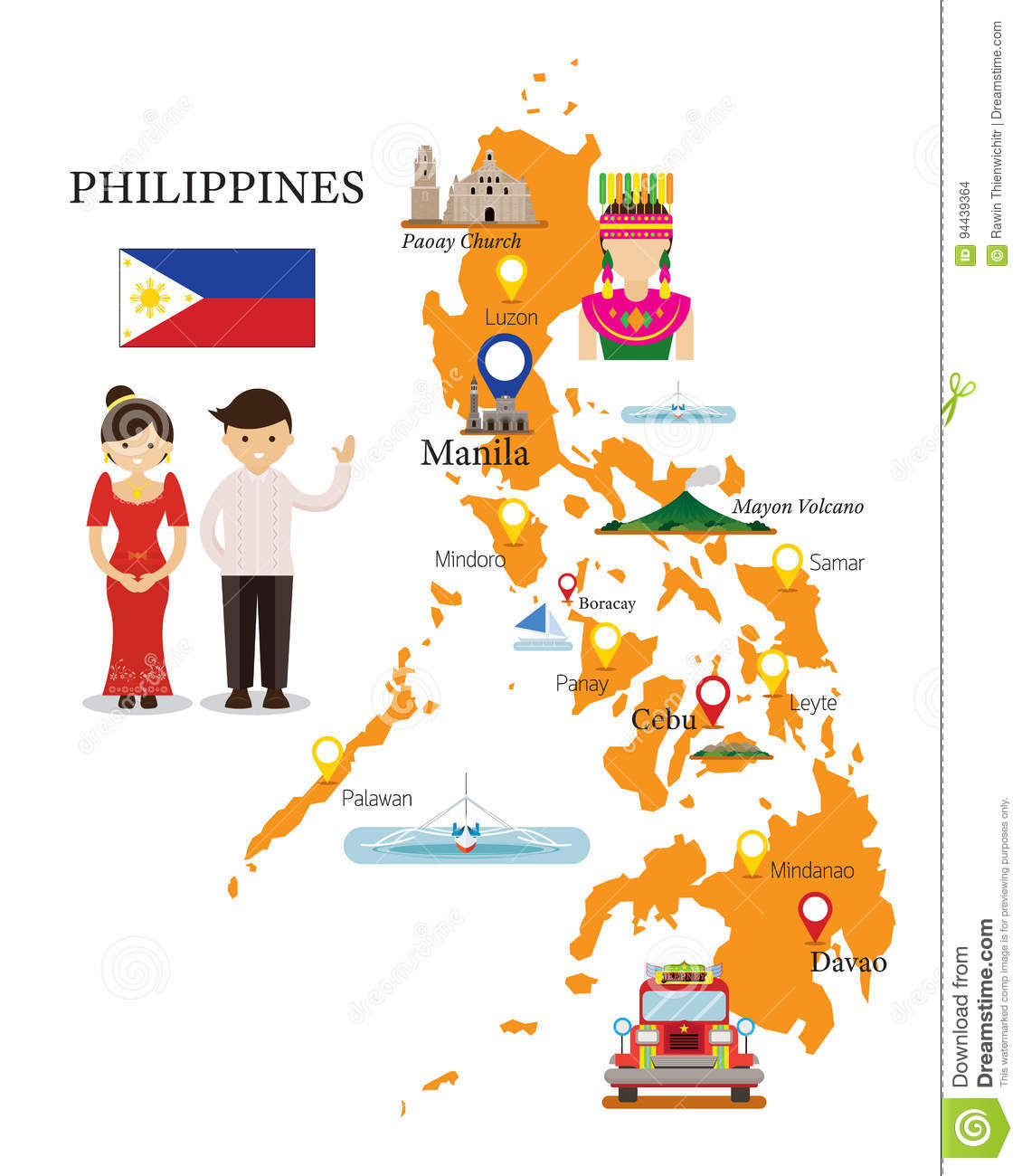 Philippines Map and Landmarks with People in Traditional Clothing