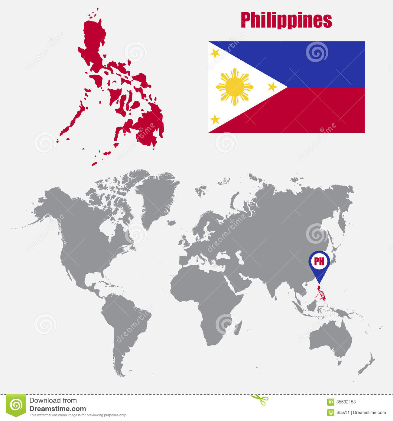 Philippines Map On A World Map With Flag And Map Pointer. Vector ...