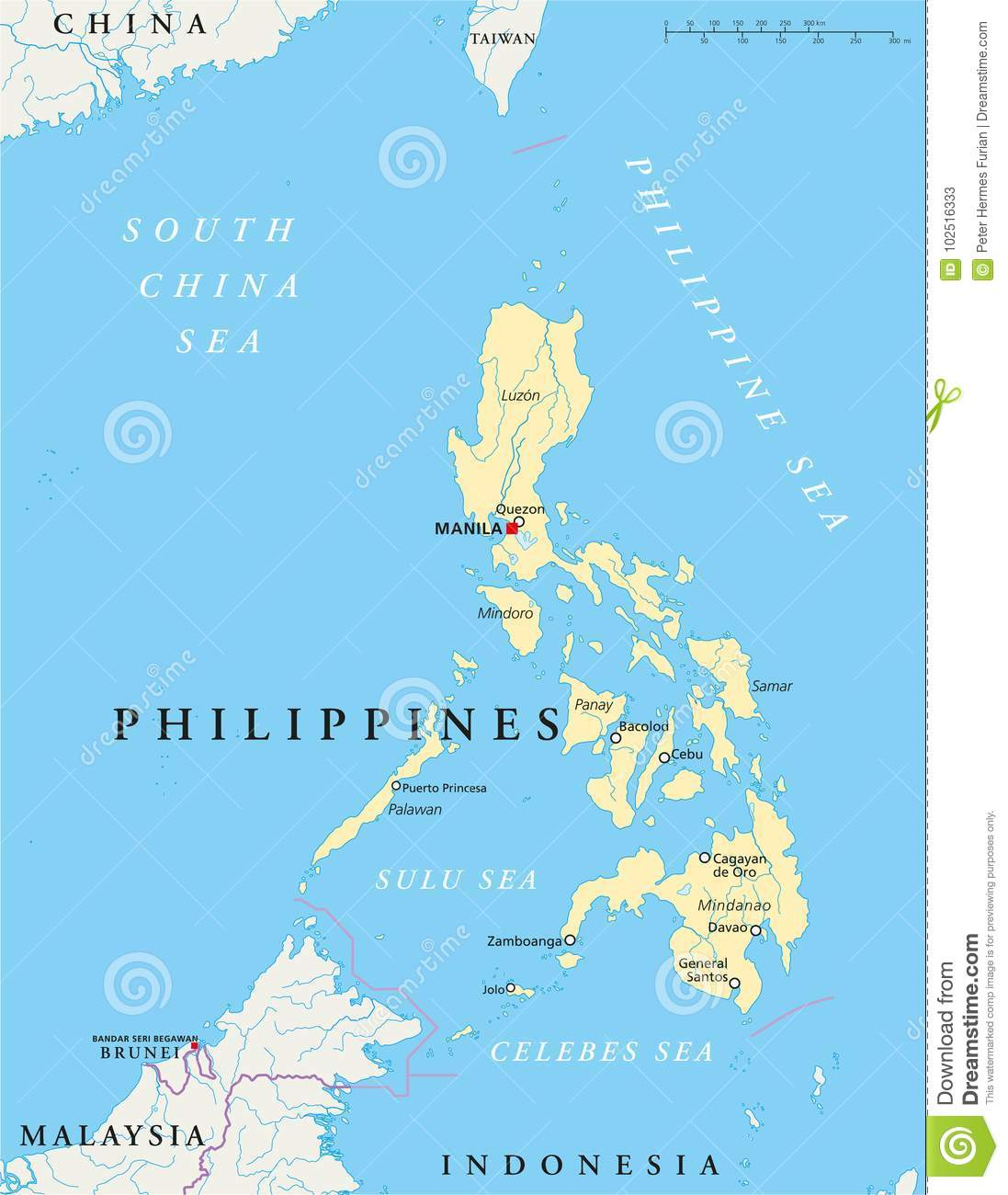 Philippines Political Map stock vector. Illustration of luzon ...