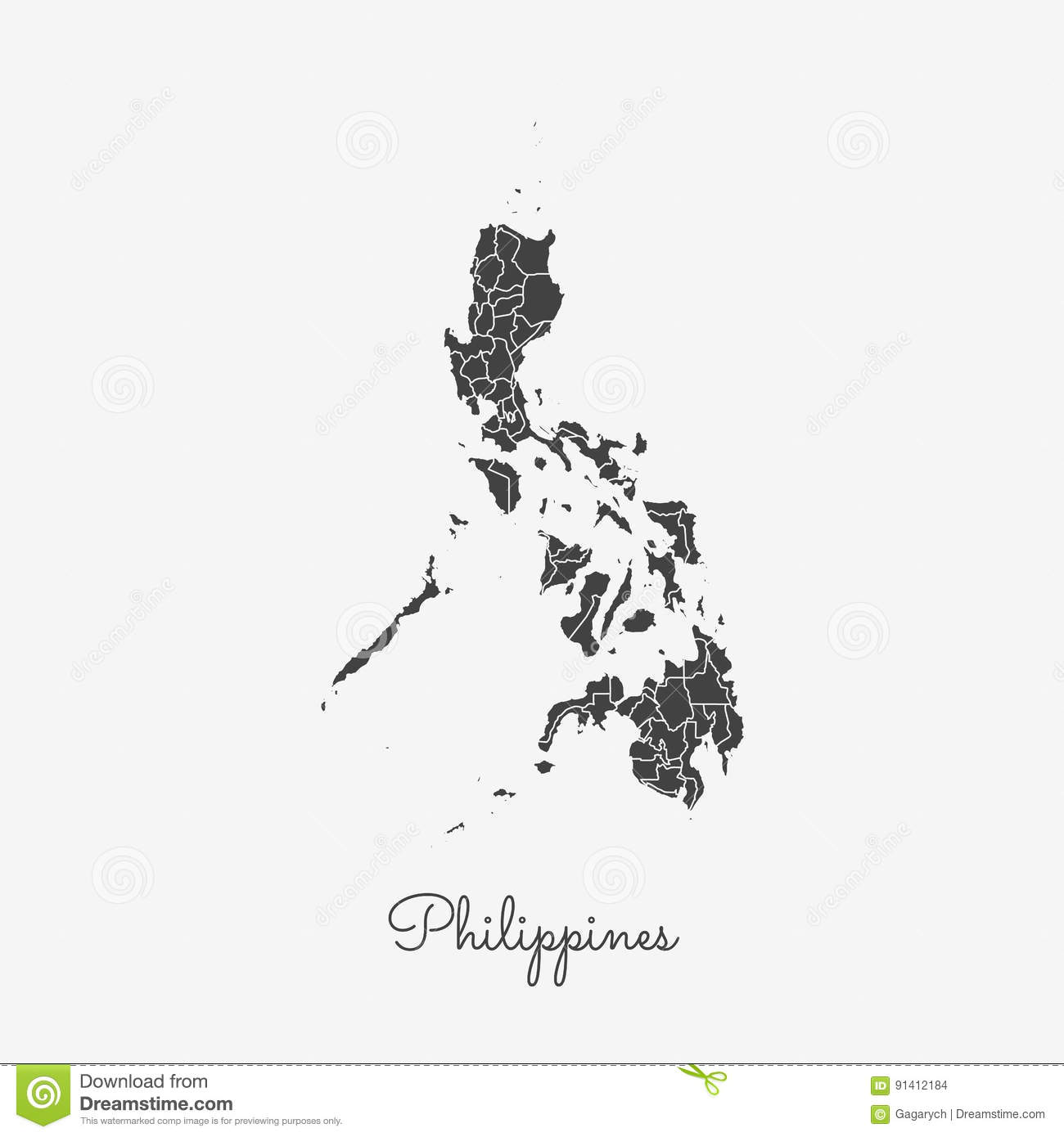 Philippines Region Map Grey Outline On White Stock Vector