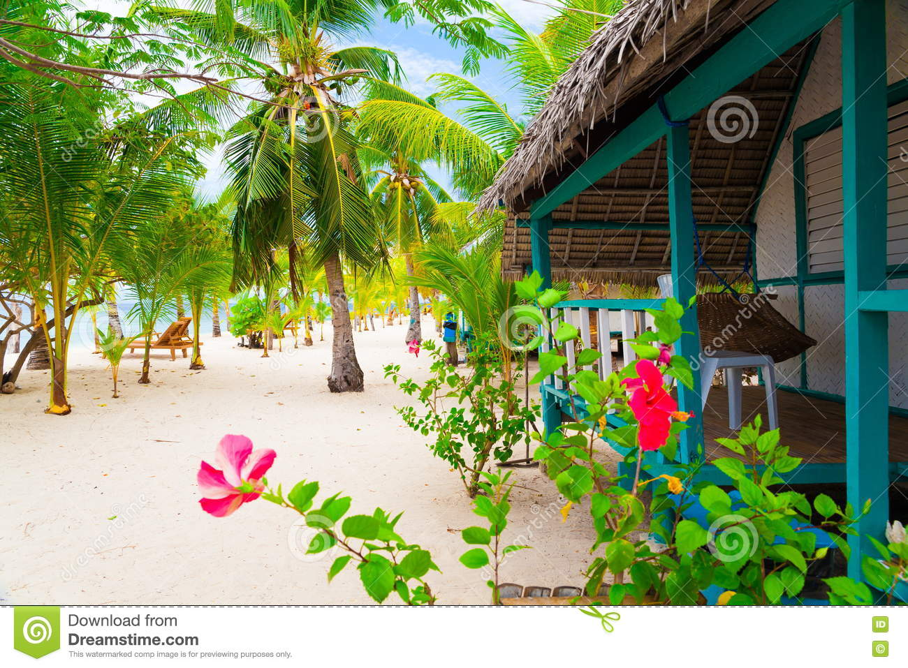 Philippines, Tropical Sea Beach, Palms Garden Stock Photo - Image of ...