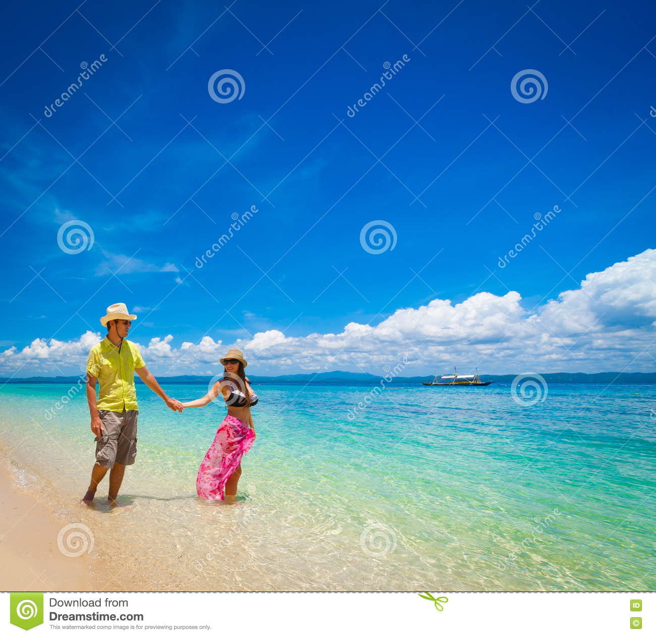 Philippines, Woman And Man Beach Stock Photo