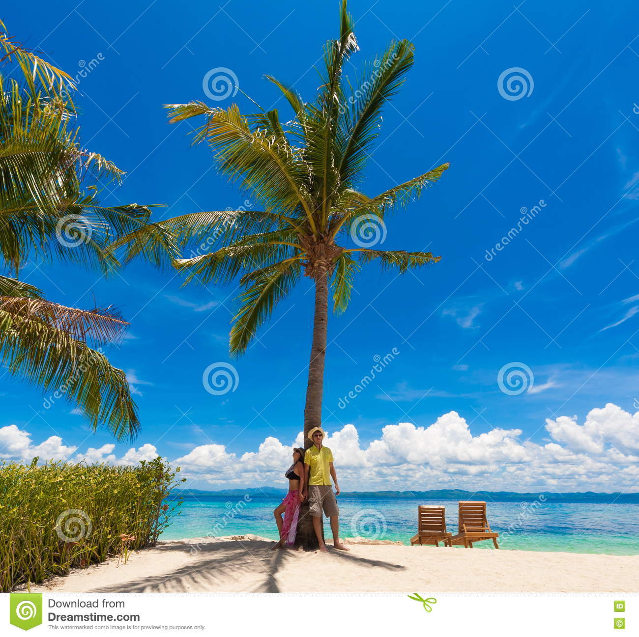 Philippines, Woman And Man Beach Palm Stock Photo