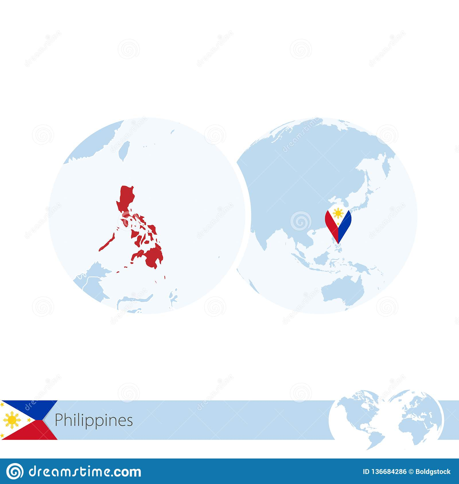 Philippines On World Globe With Flag And Regional Map Of Philippines on map showing philippines, map of philippines in imperialism, map of philippines in asia, map of bohol island philippines, map of morocco and surrounding countries, map of philippines on world map,