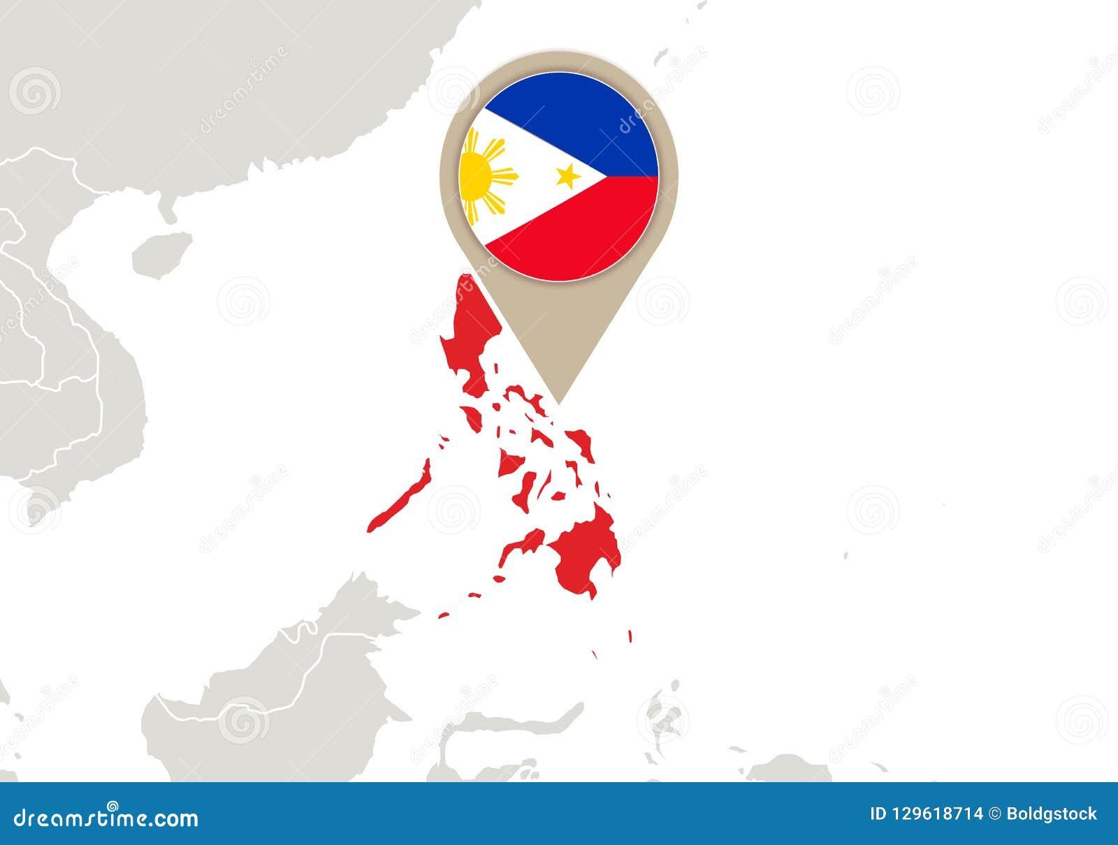 Philippines On World Map Stock Vector Illustration Of Landmark