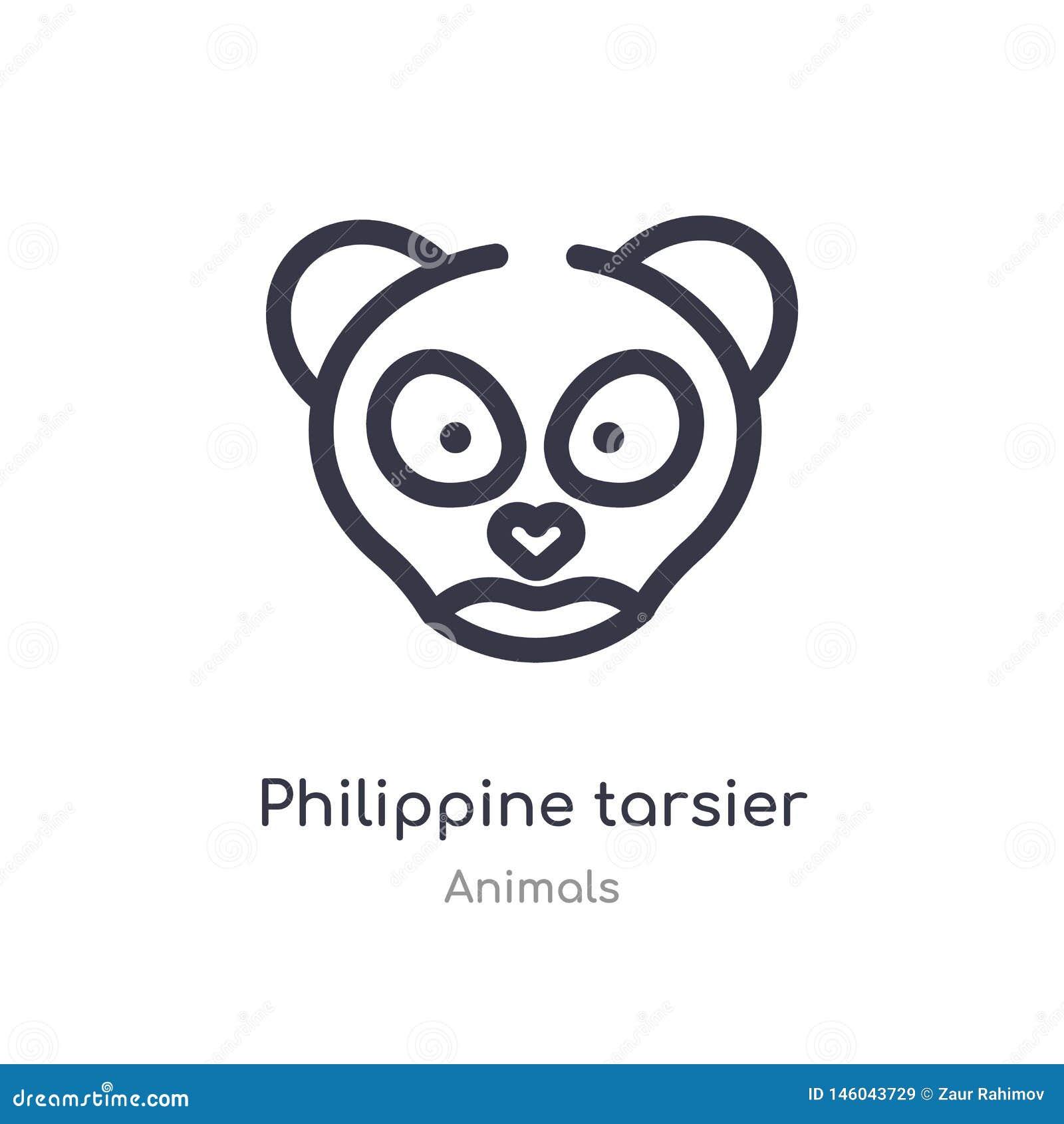 Philippinische tarsier Entwurfsikone lokalisierte Linie Vektorillustration von der Tiersammlung editable Haarstrich philippinisch