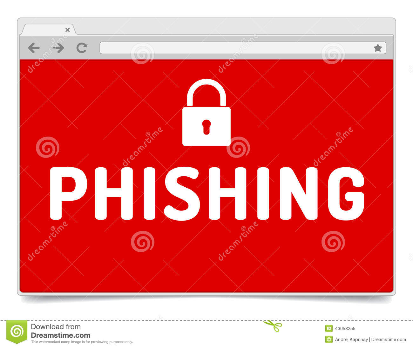 phishing alert on opened internet browser window with. Black Bedroom Furniture Sets. Home Design Ideas