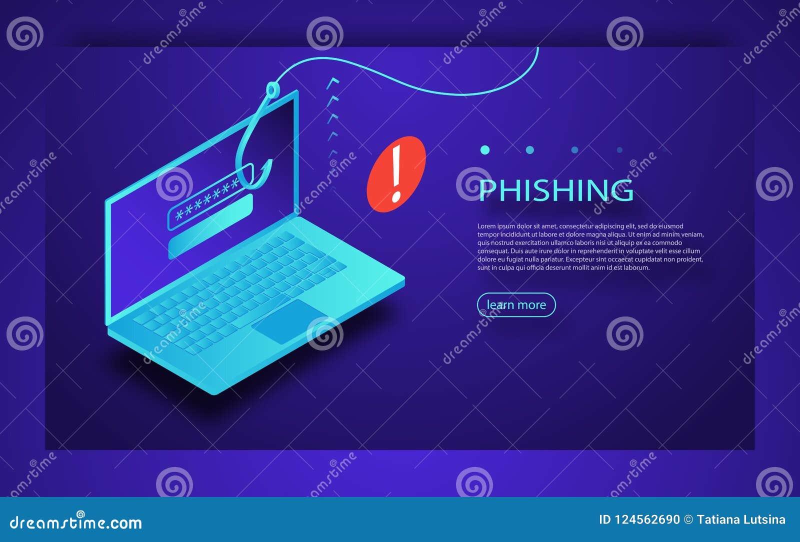 Phishing för internet, hackad inloggning och lösenord Phishing svindel, en hackerattack och rengöringsduksäkerhetsbegrepp