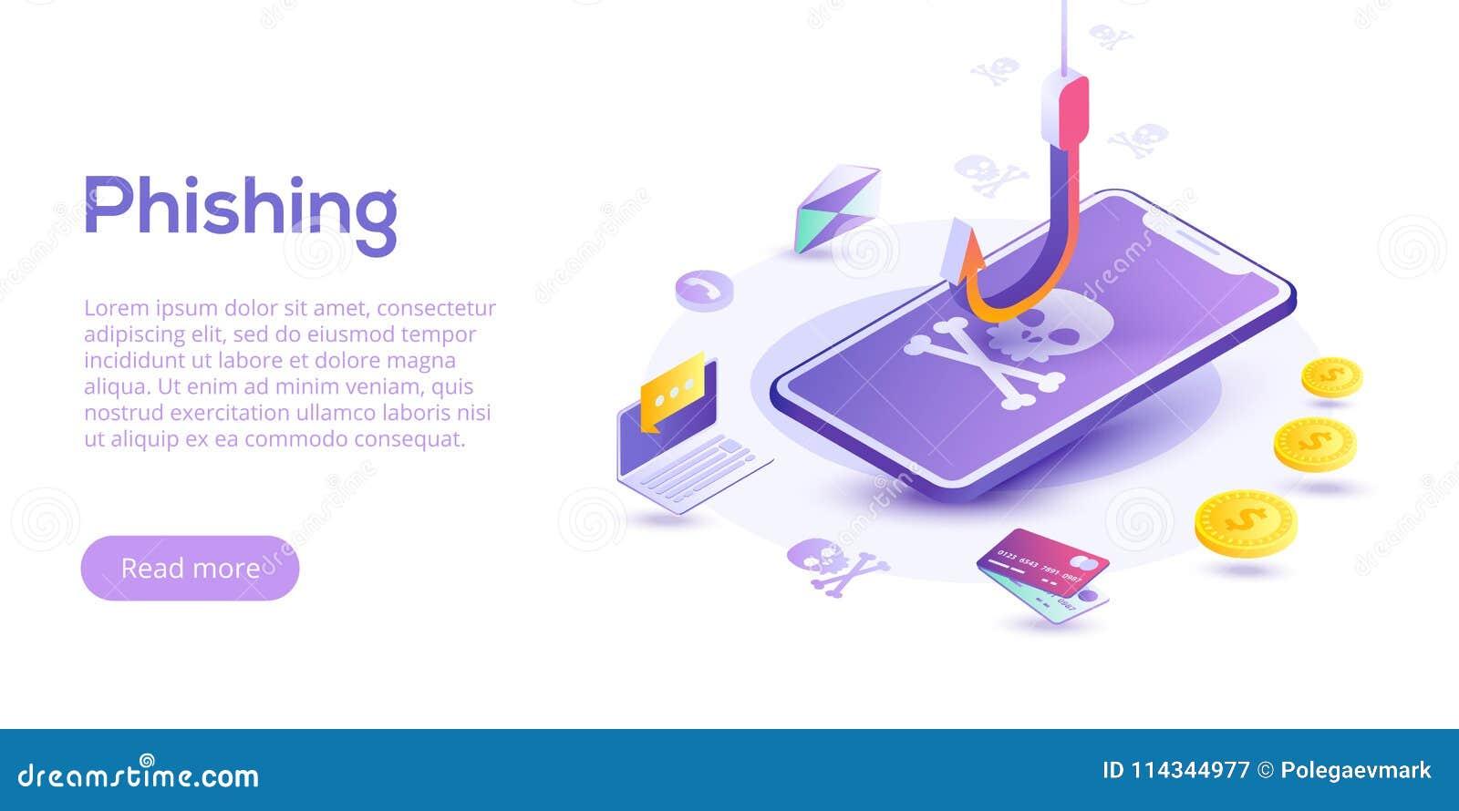 Phishing via för vektorbegrepp för internet isometrisk illustration ema