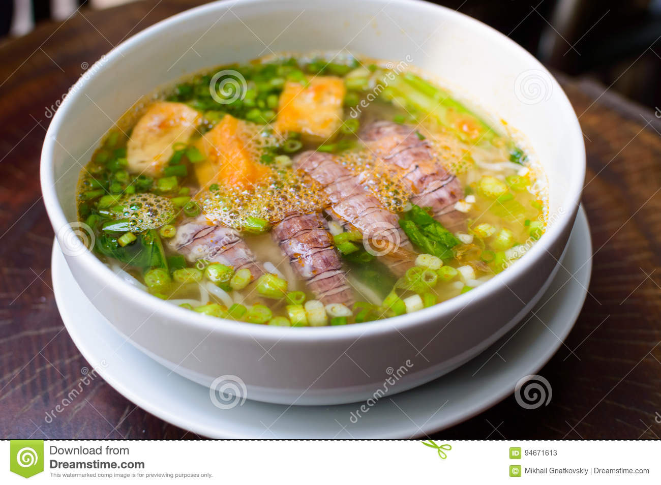 Pho Tom Vietnamese Soup stock image  Image of lime, cooking