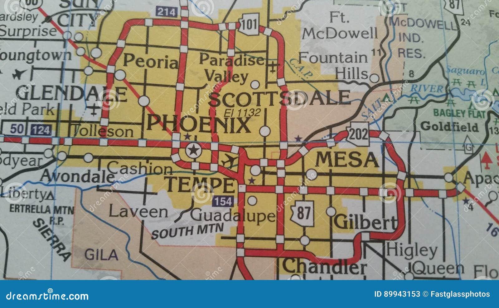 Phoenix, Arizona Map stock image. Image of tempe, surrounding - 89943153