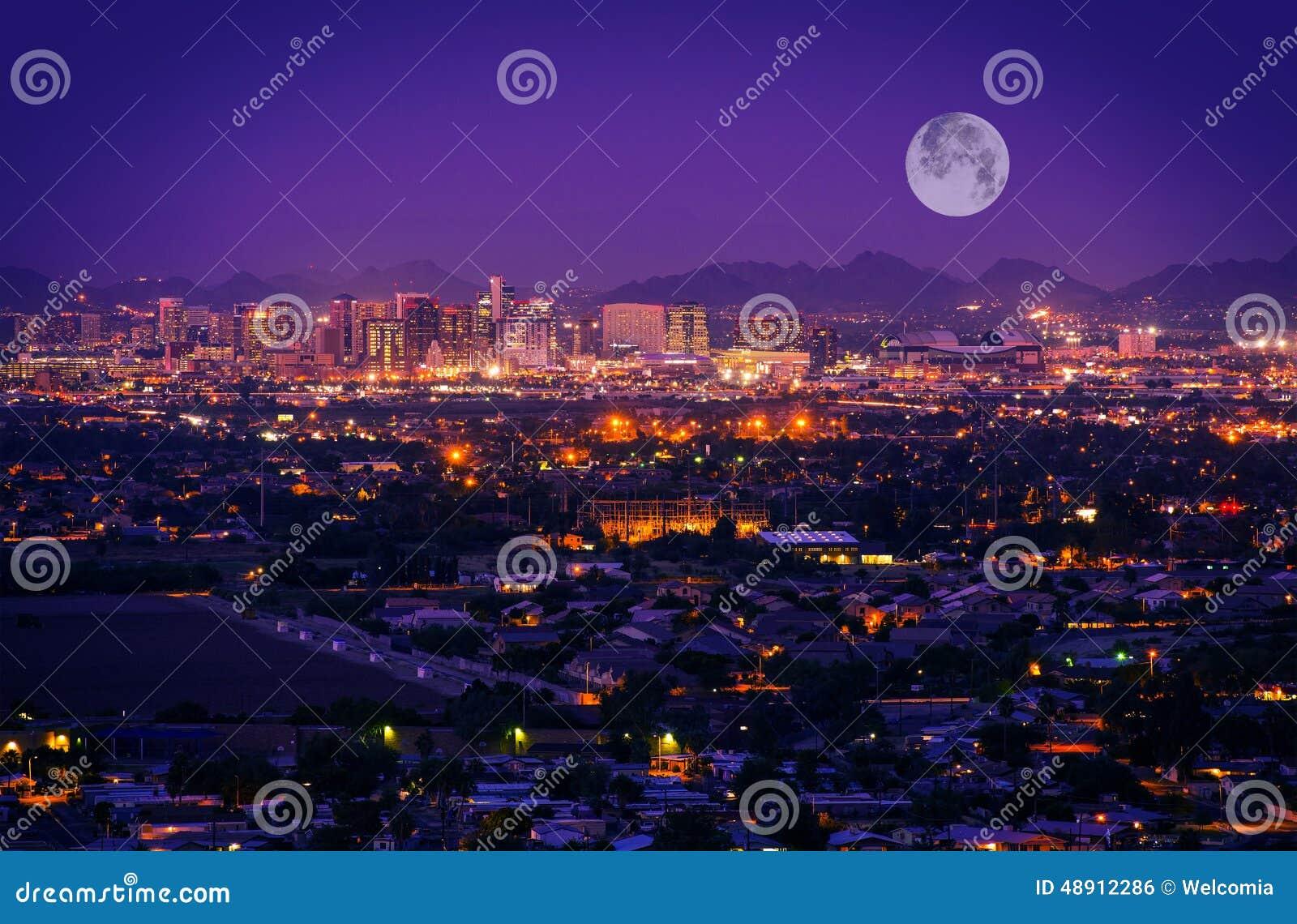 Download Phoenix Arizona Skyline stock photo. Image of illuminated - 48912286