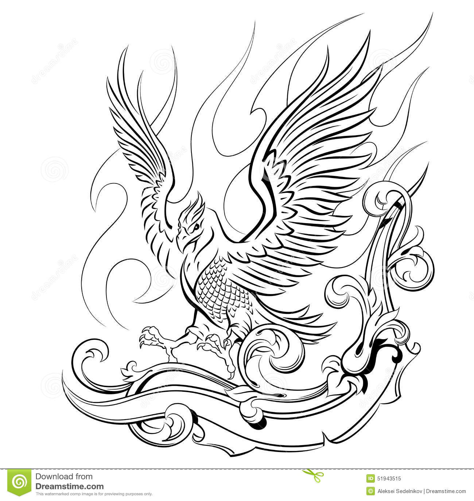 how to draw a phoenix firebird