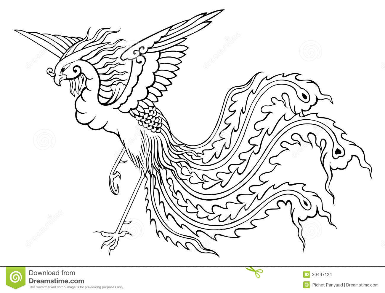 Phoenix Chinese Style For Coloring Stock Illustration ...