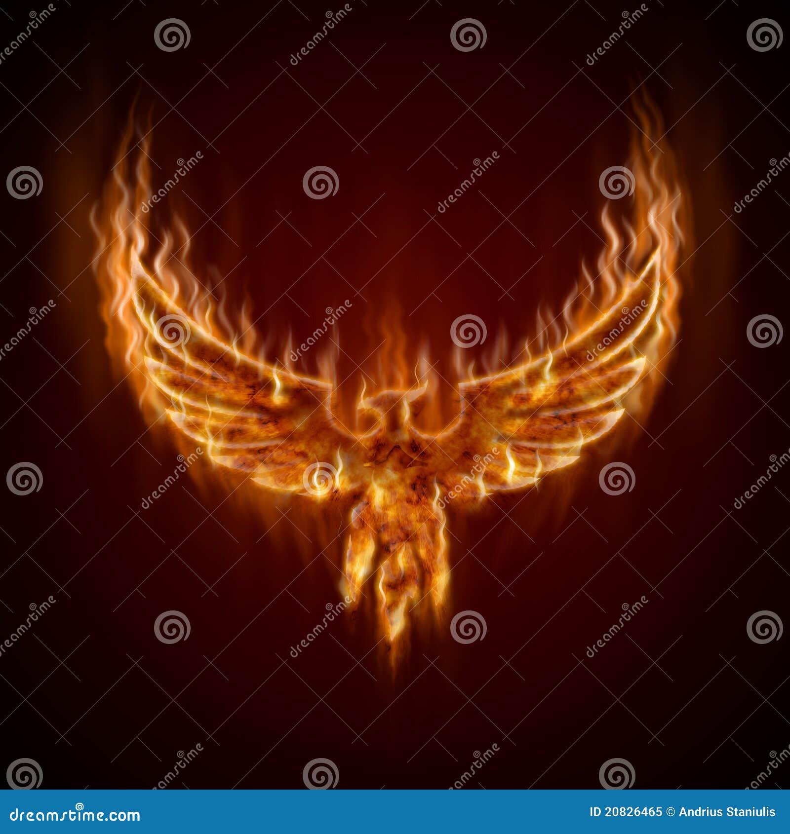 Phoenix del fuego con las alas