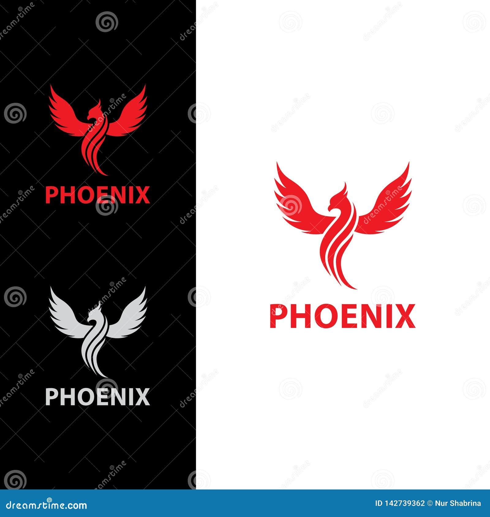 Phoenix latanie z Kreskowym ciało logo