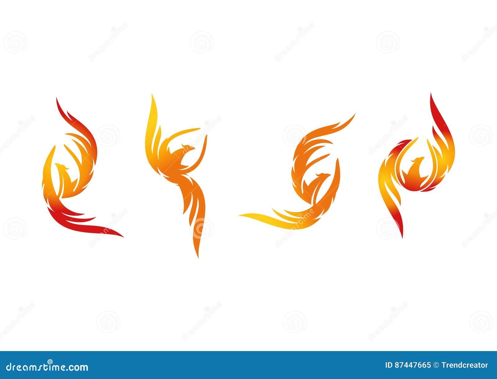 Phoenix, logo, flame, icon, and fire bird concept design