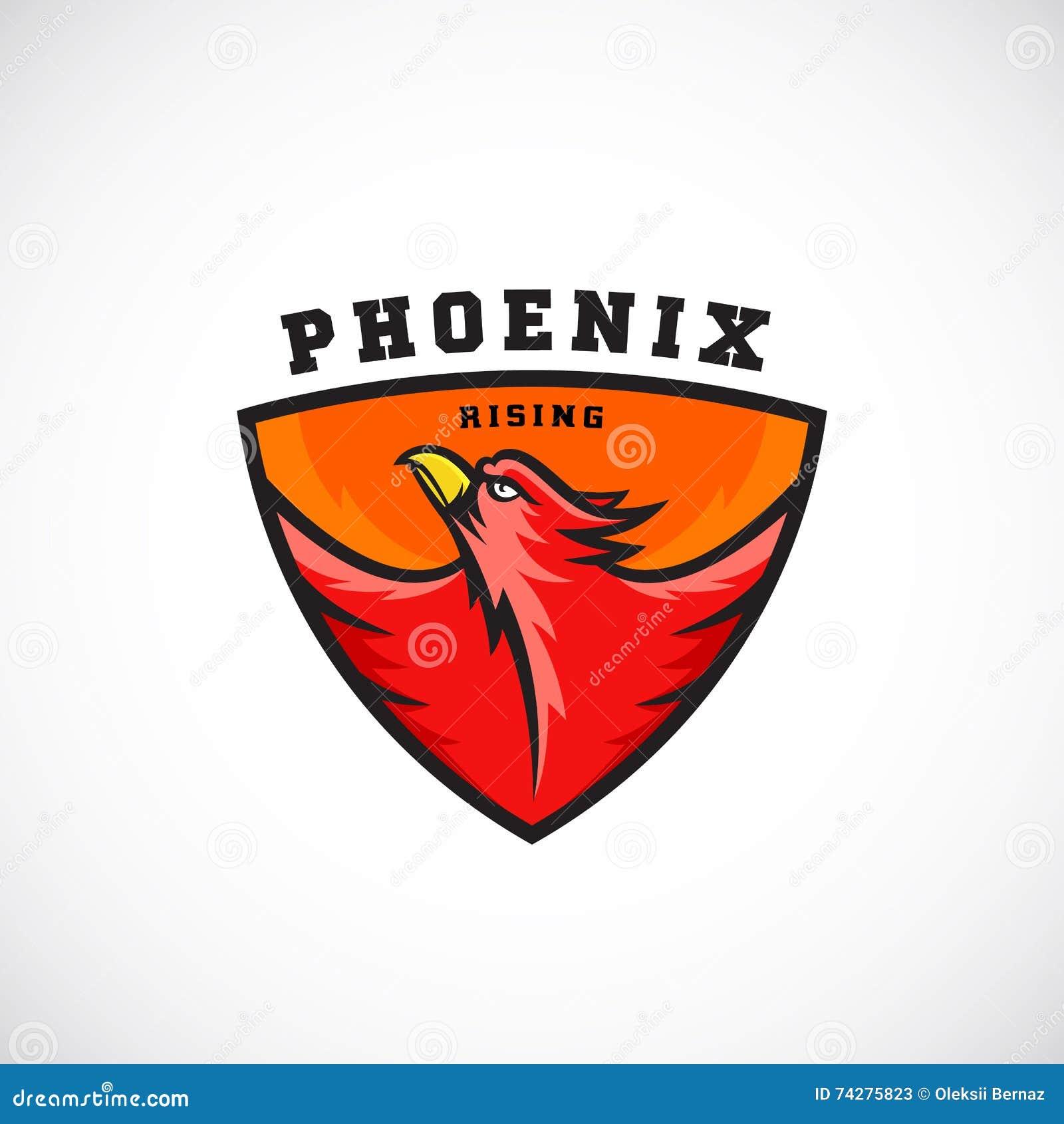 Bird In A Shield Vector Emblem Or Logo Template. Fire Phoenix ...