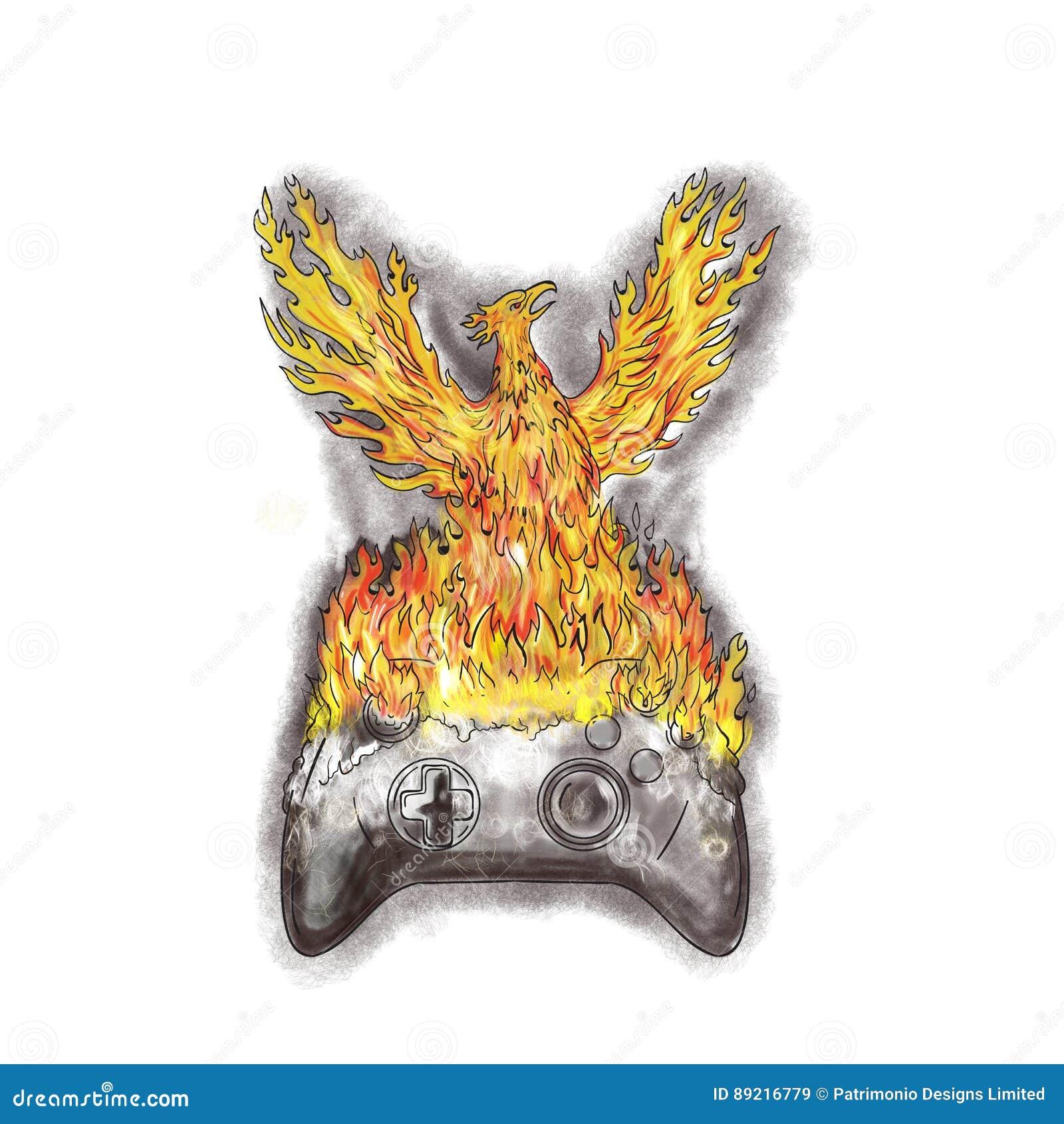 Phoenix Rising Over Burning Game Controller Tattoo Stock