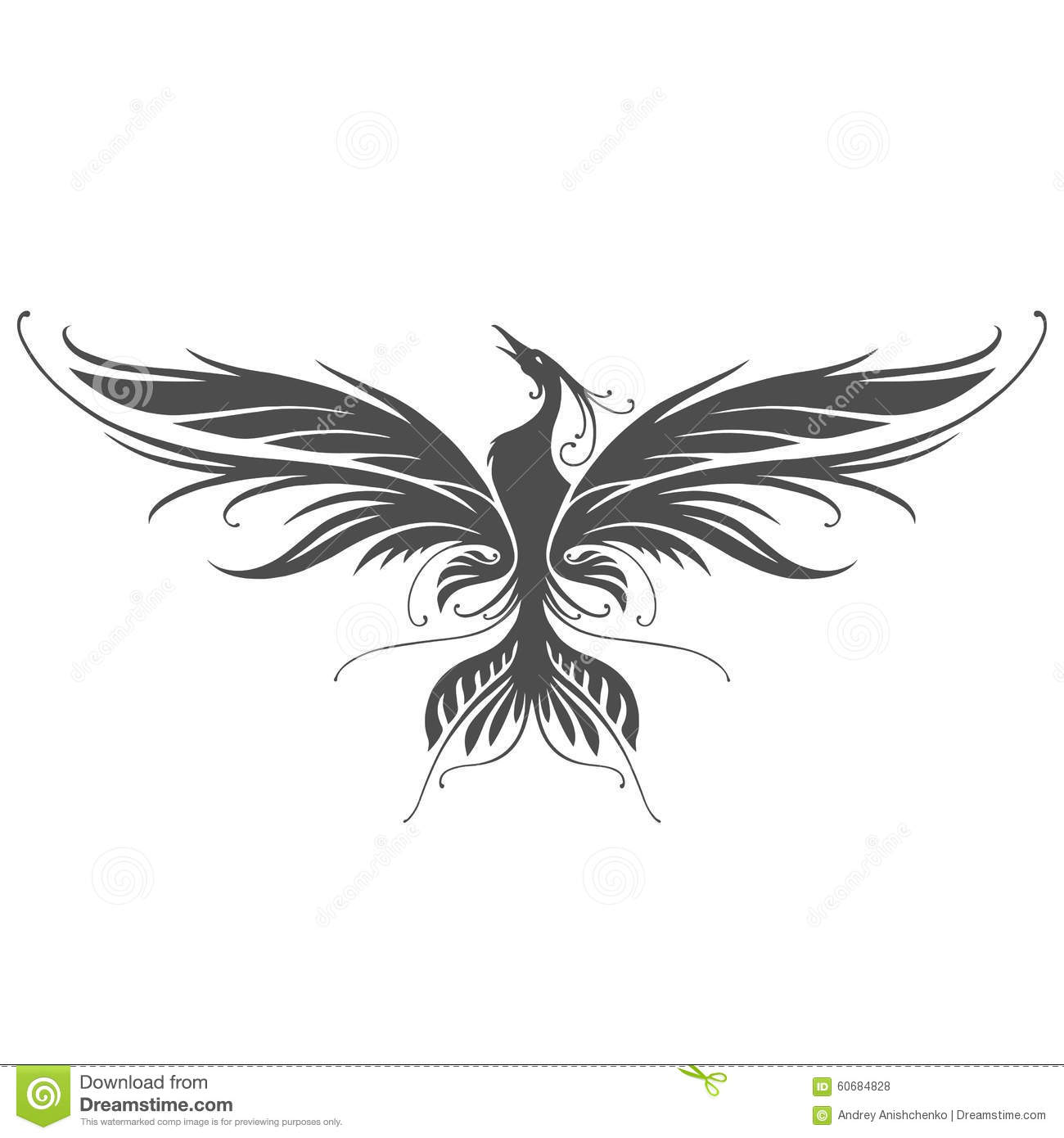 f34336264ed6e Phoenix silhouette in vector on white background. Designers Also Selected  These Stock Illustrations