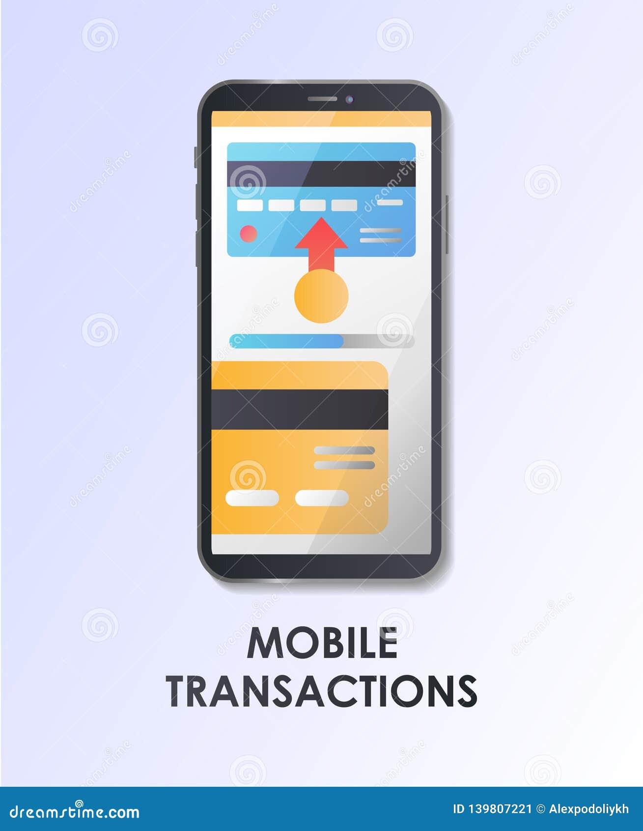 Mobile transaction. Payment. Flat vector illustration.