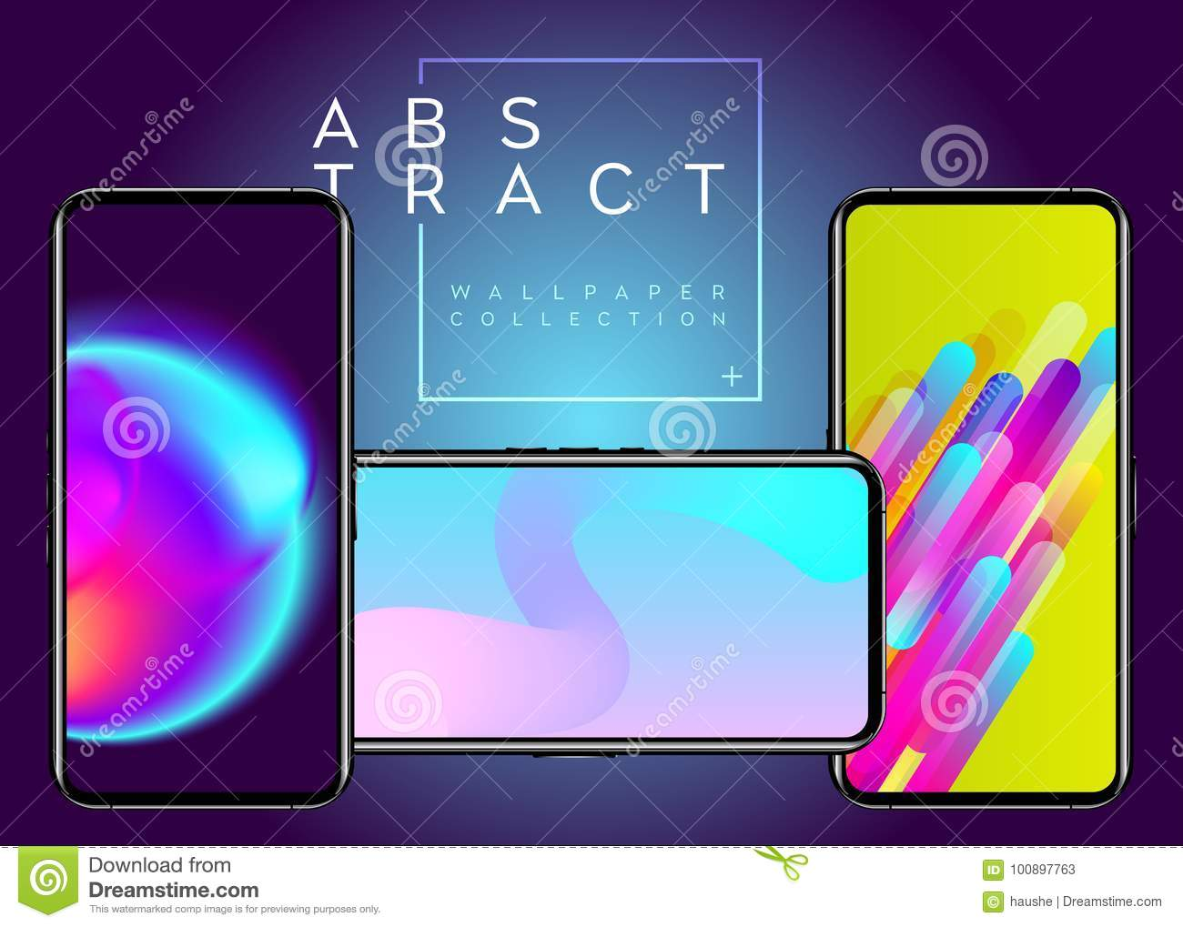Phone Abstract Futuristic Wallpaper Collection Stock Vector