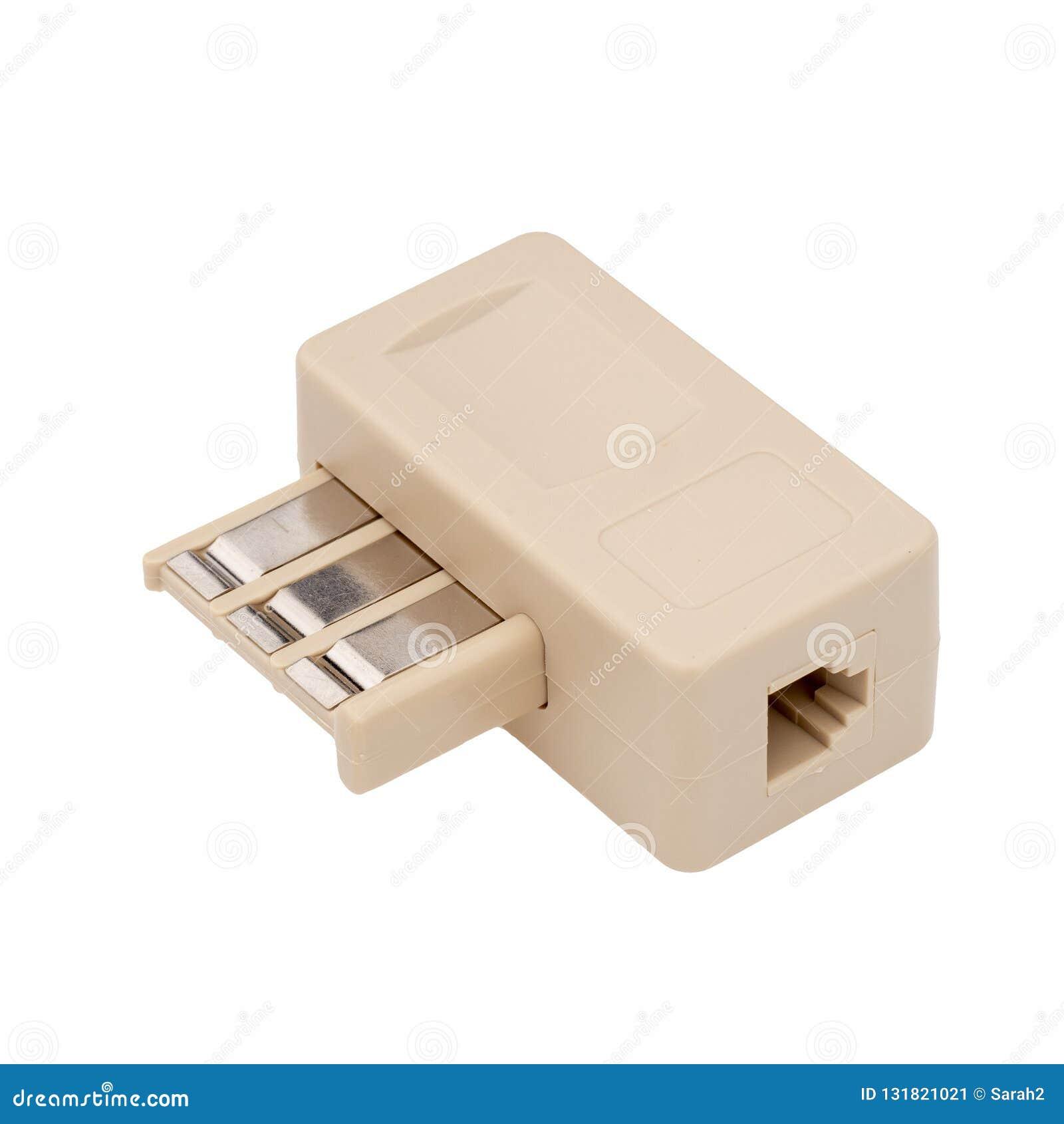 Phone Adapter Landline Plug France French. Technology connector. Jack. Isolated on white.