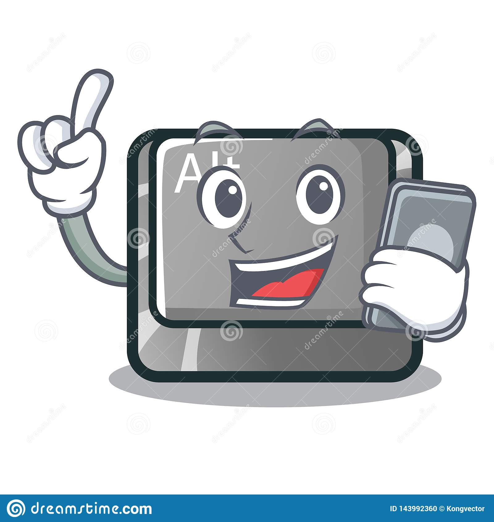 With phone alt button in the cartoon shape