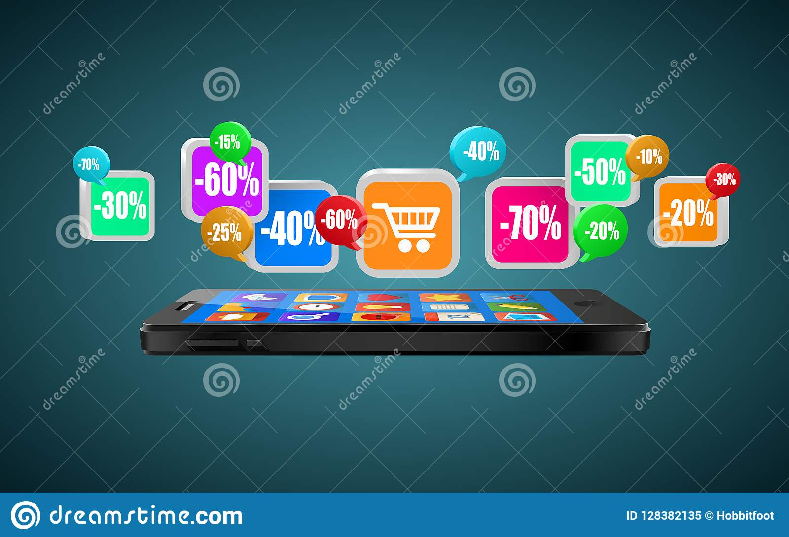 Phone with app icons. Mobile buying. Internet shopping or commerce concept.