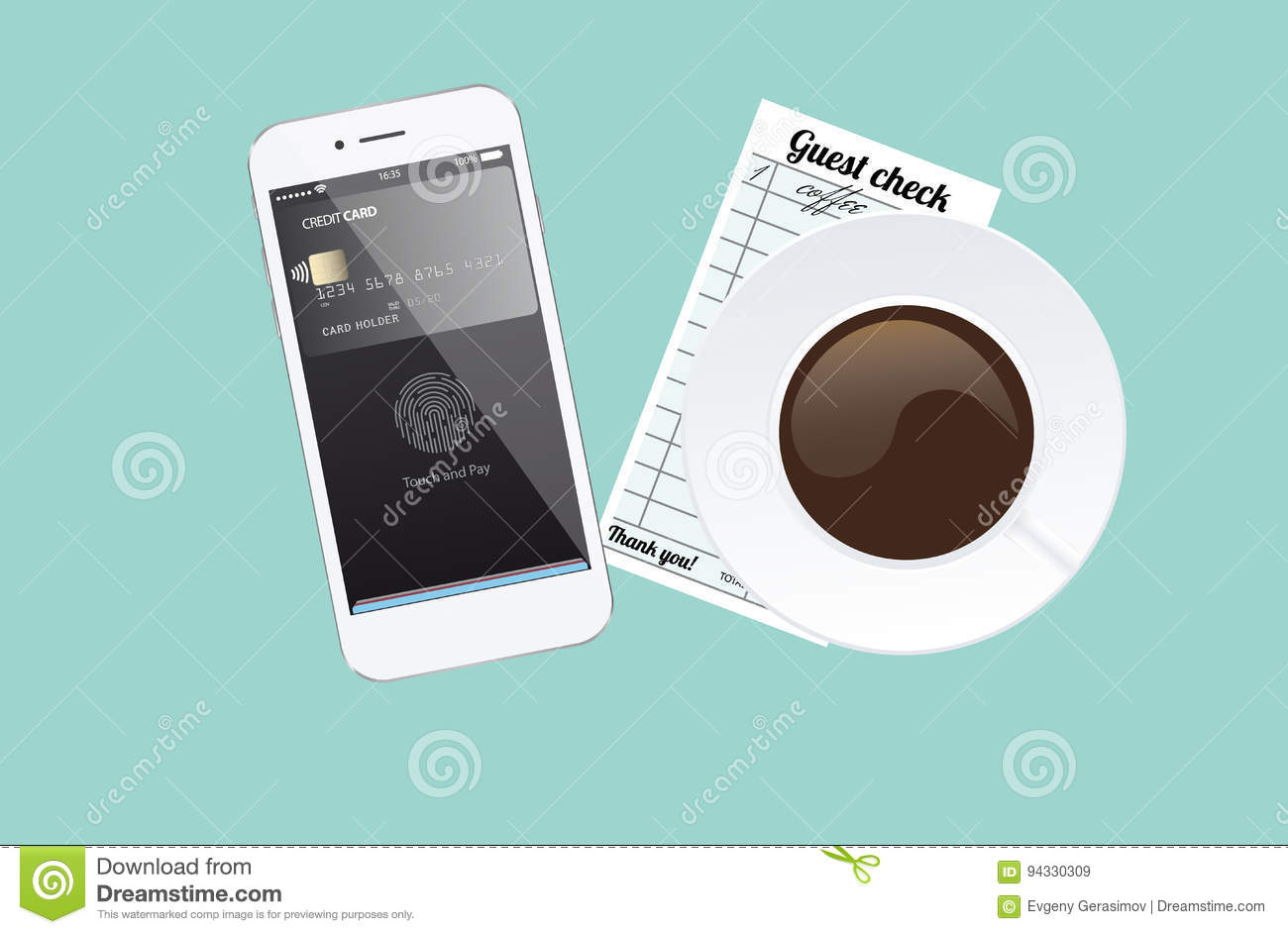 Phone With App For Pay With Touch Identification  Stock