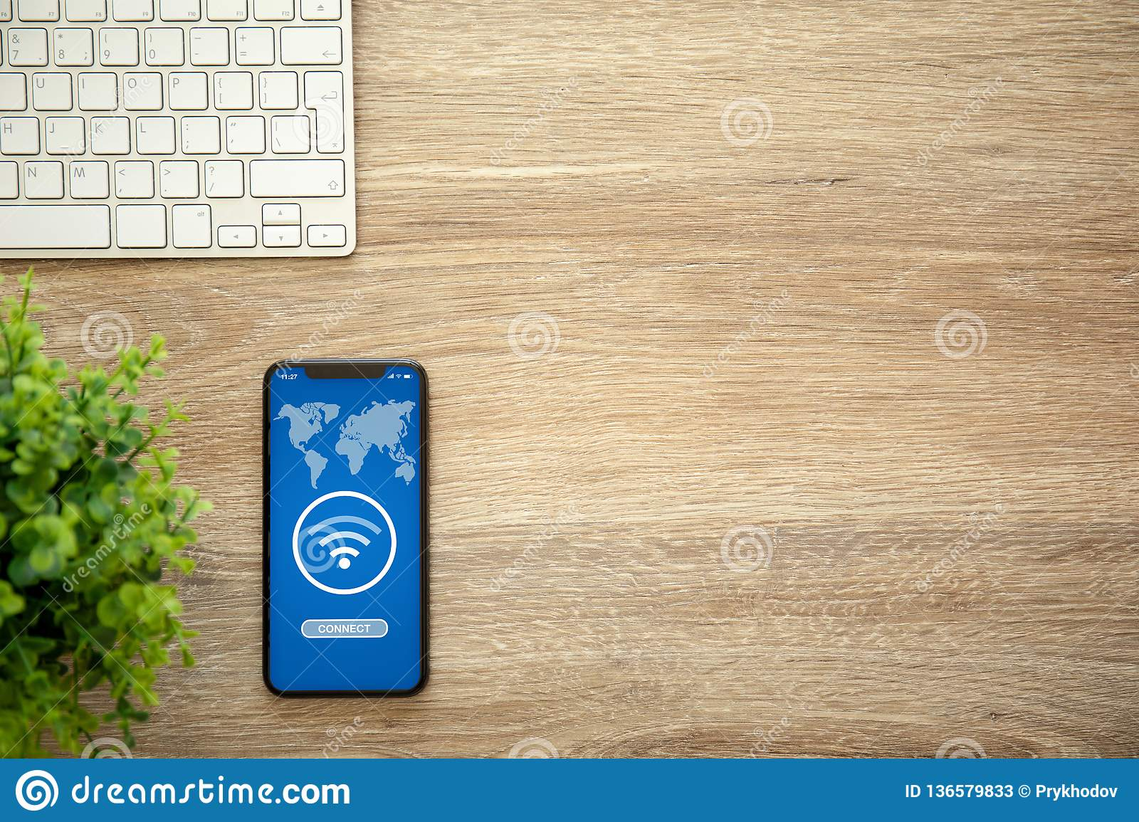 Phone With App Wifi Connect On Screen Wooden Table Keyboard Stock