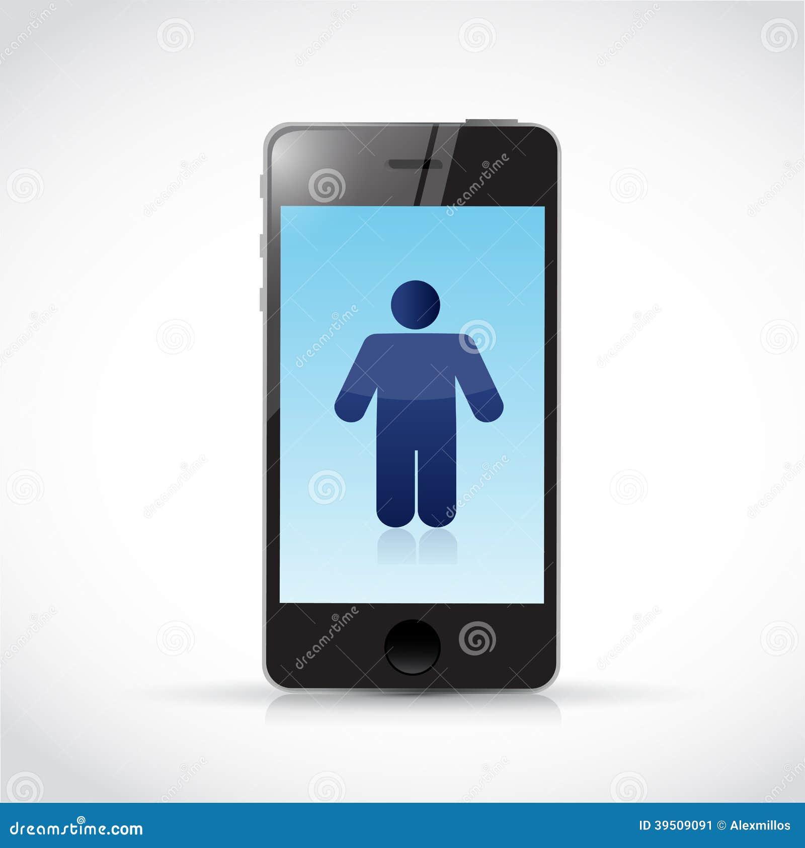 Phone and avatar illustration design