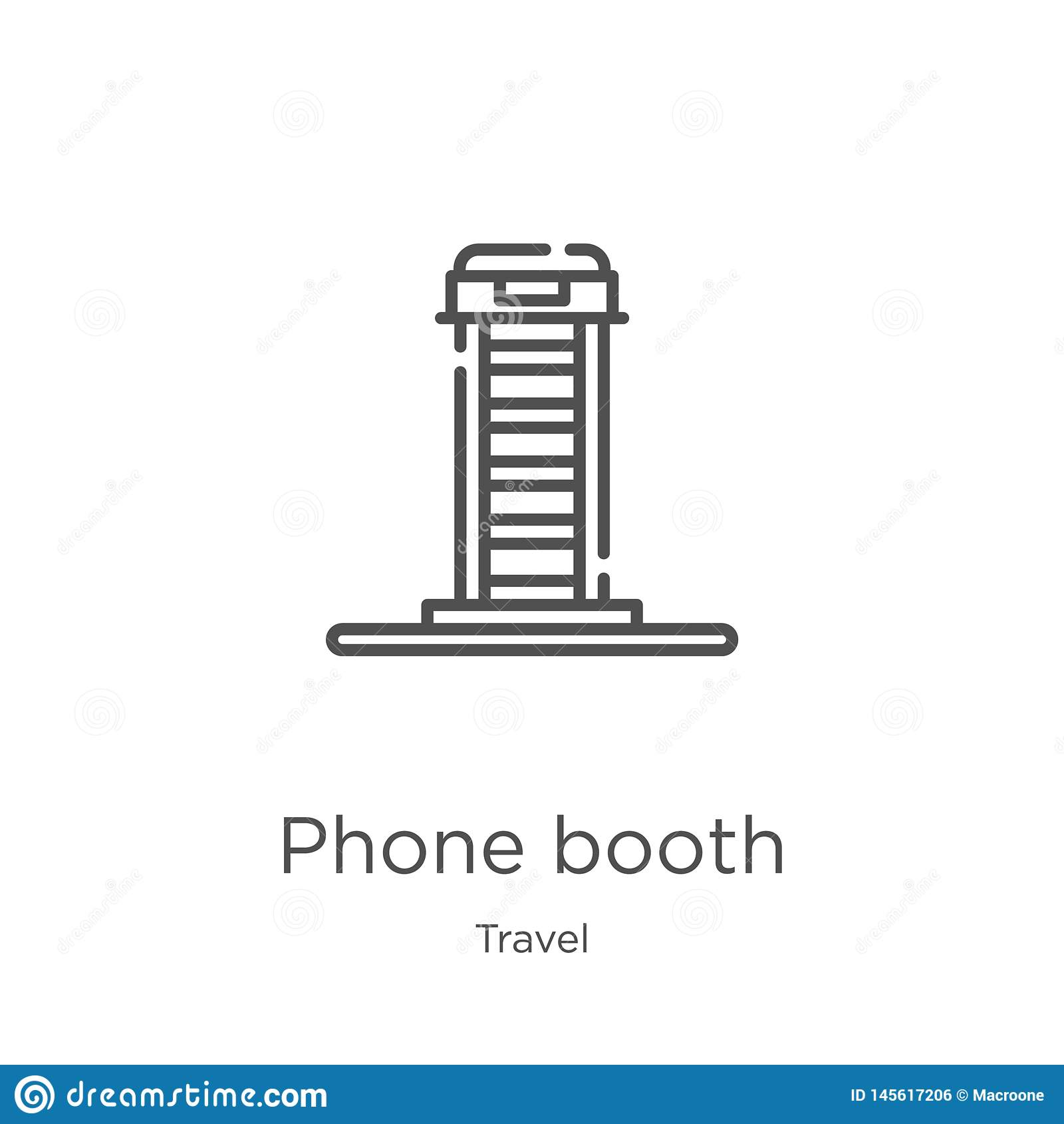 phone booth icon vector from travel collection. Thin line phone booth outline icon vector illustration. Outline, thin line phone